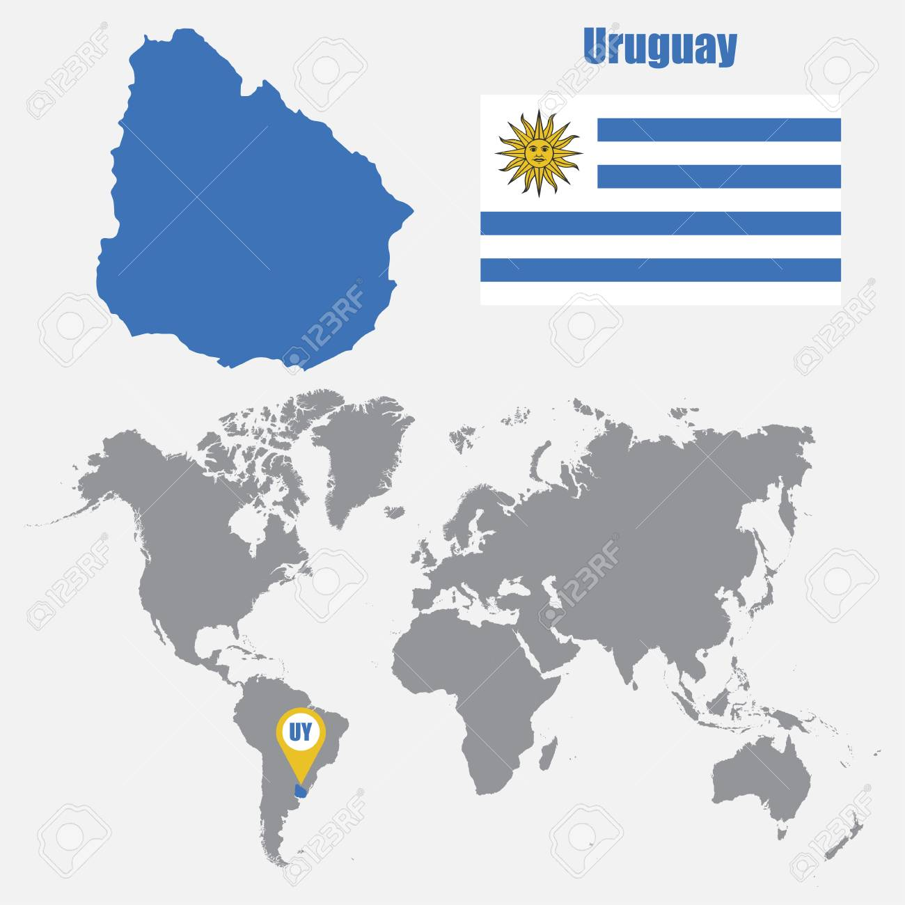 Uruguay Map On A World Map With Flag And Map Pointer Vector