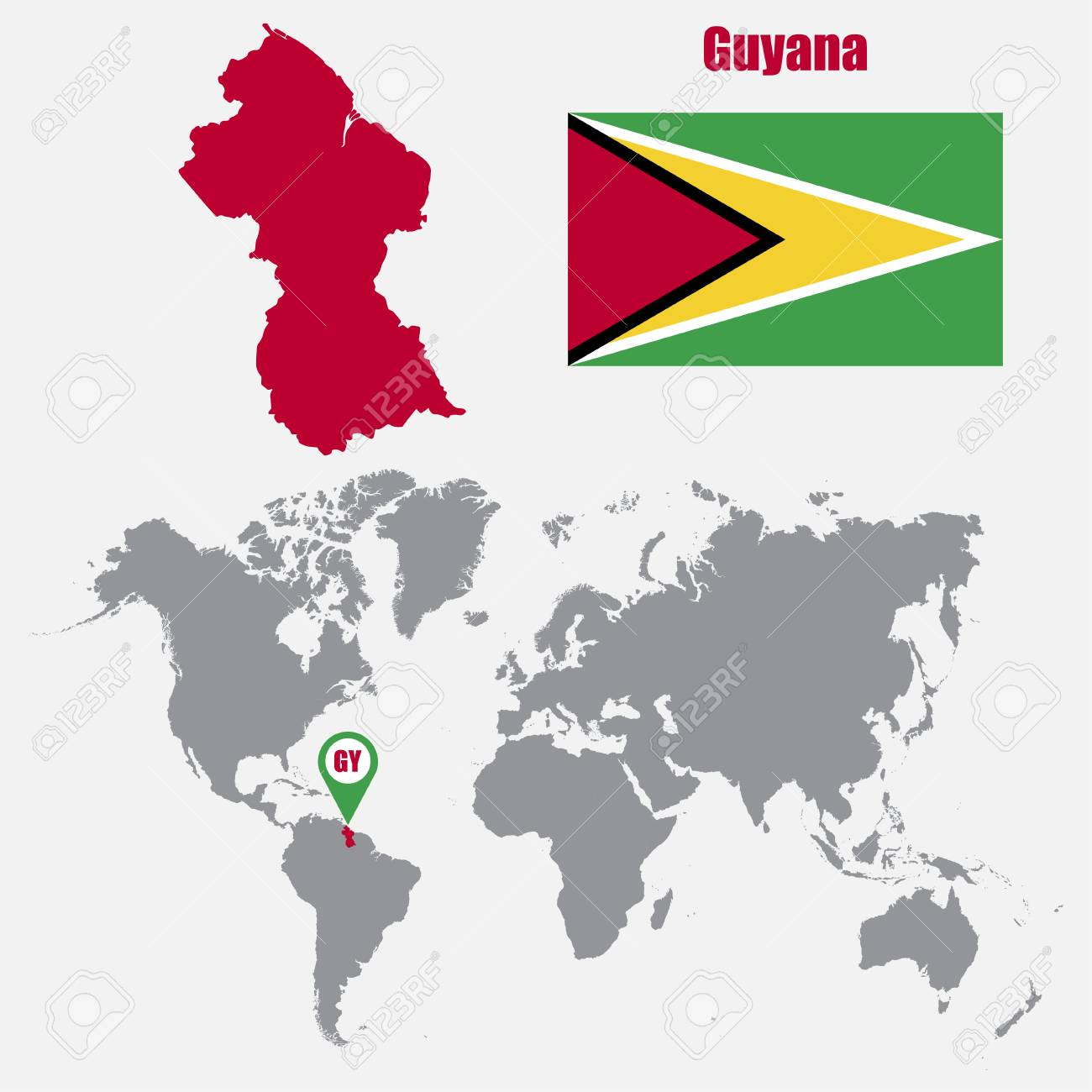 Guyana Map World Guyana Map On A World Map With Flag And Map Pointer. Vector