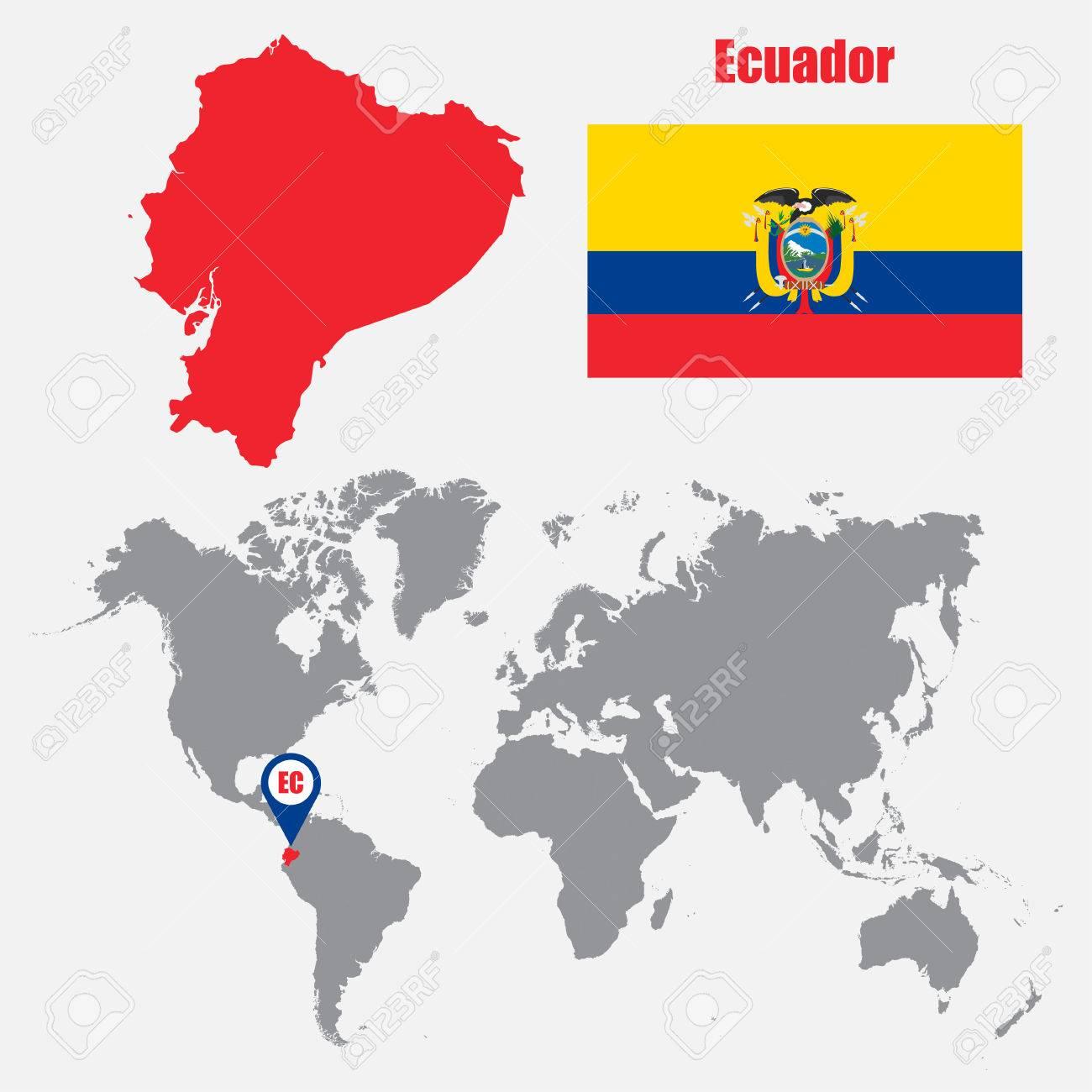 Ecuador Mapa Del Mundo.Mapa De Ecuador En Un Mapa Del Mundo Con La Bandera Y El Puntero Del Mapa Ilustracion Vectorial Ilustraciones Vectoriales Clip Art Vectorizado Libre De Derechos Image 62045534