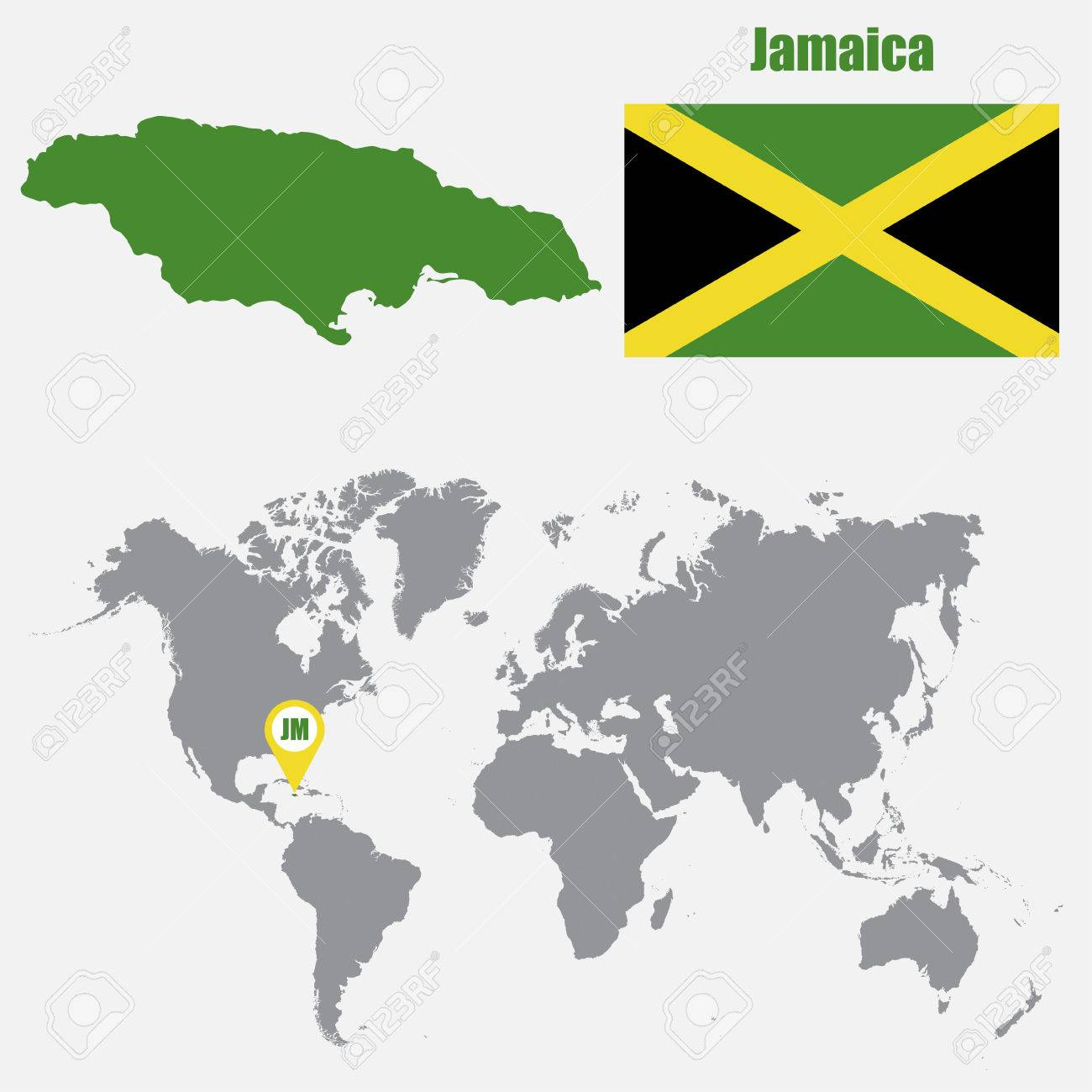 Jamaica map on a world map with flag and map pointer vector jamaica map on a world map with flag and map pointer vector illustration stock vector gumiabroncs