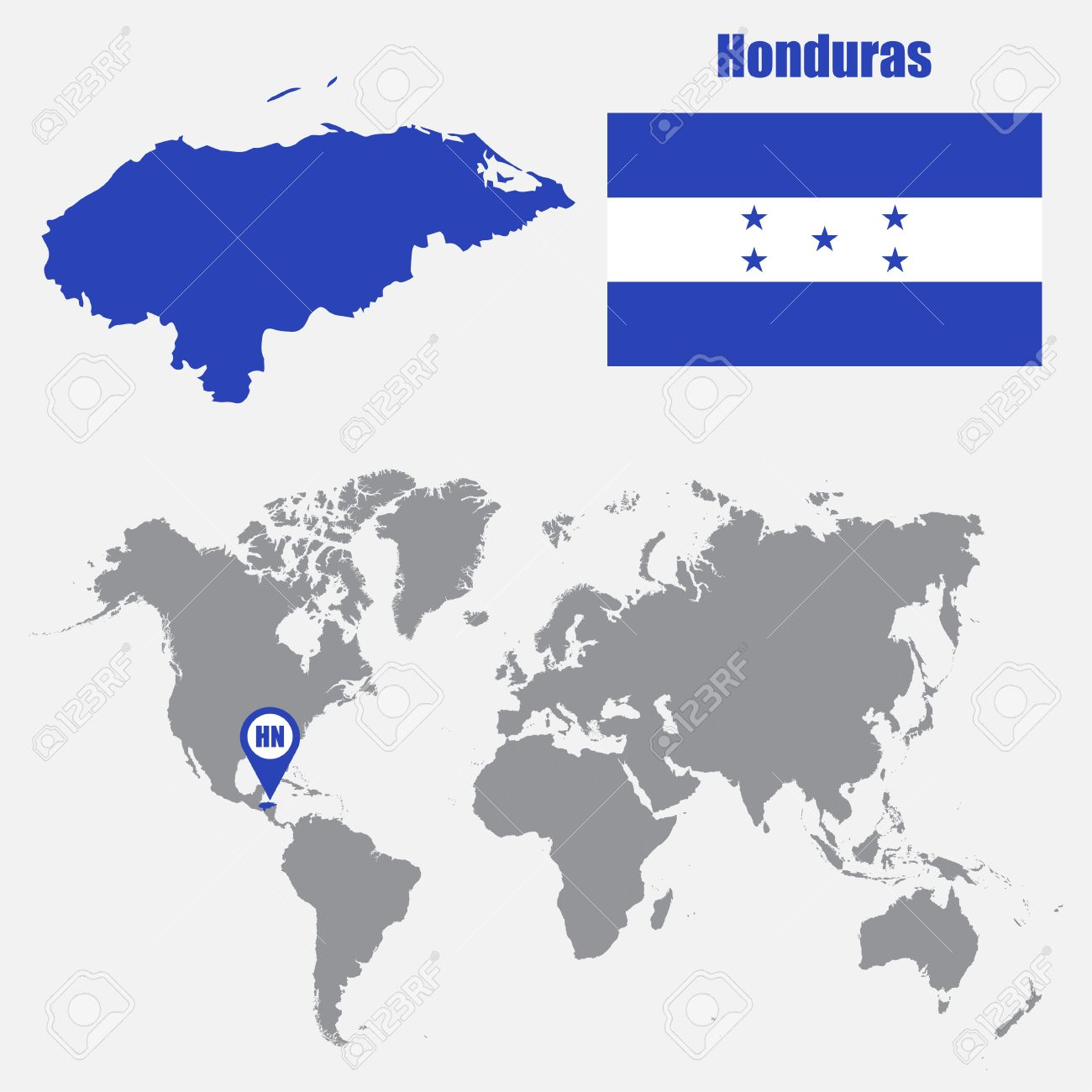 Honduras Map On A World Map With Flag And Map Pointer Vector