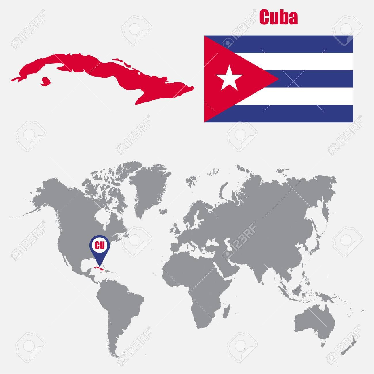 Cuba Mapa Del Mundo.Mapa De Cuba En Un Mapa Del Mundo Con La Bandera Y El Puntero Del Mapa Ilustracion Vectorial Ilustraciones Vectoriales Clip Art Vectorizado Libre De Derechos Image 62045541