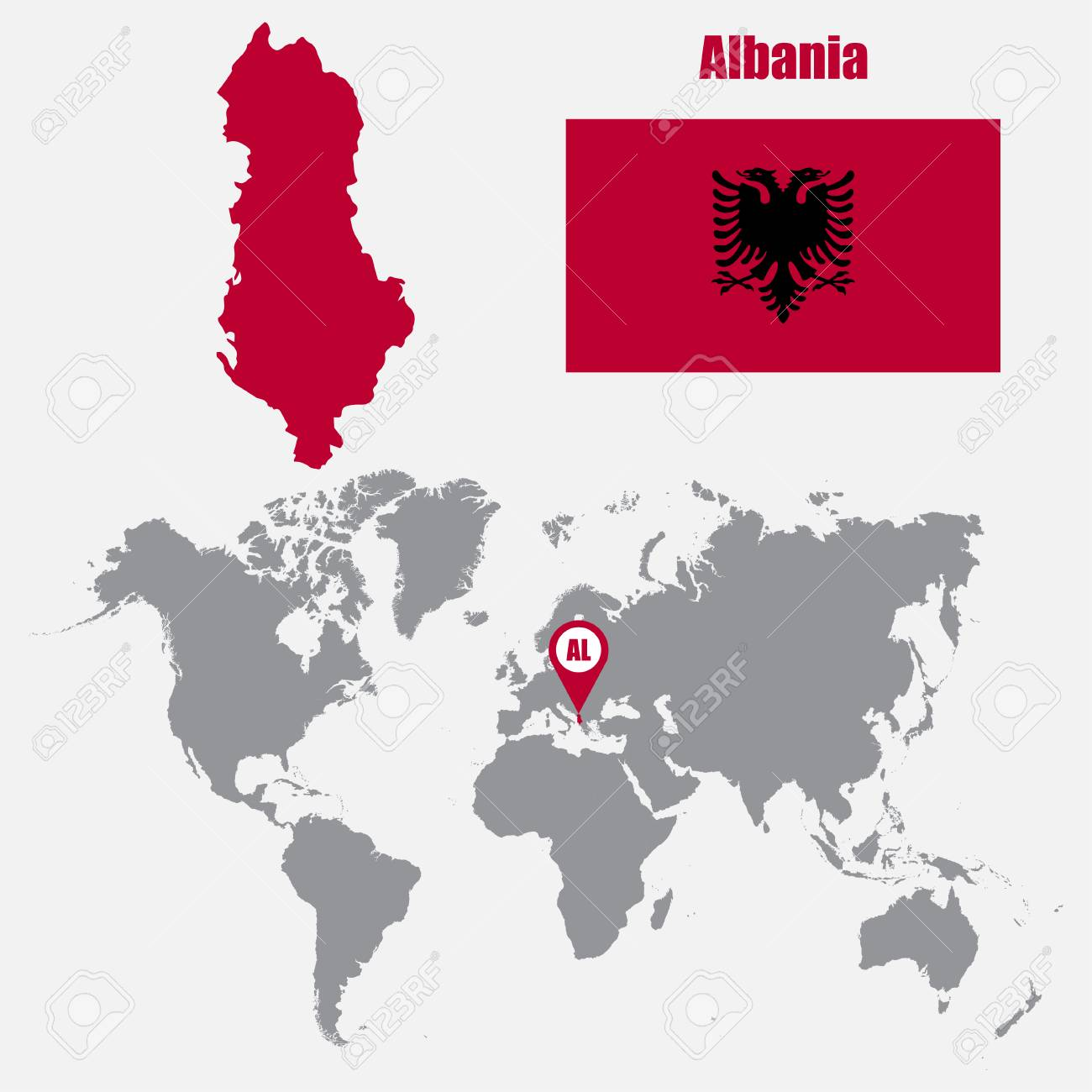 Albania Map On A World Map With Flag And Map Pointer Vector