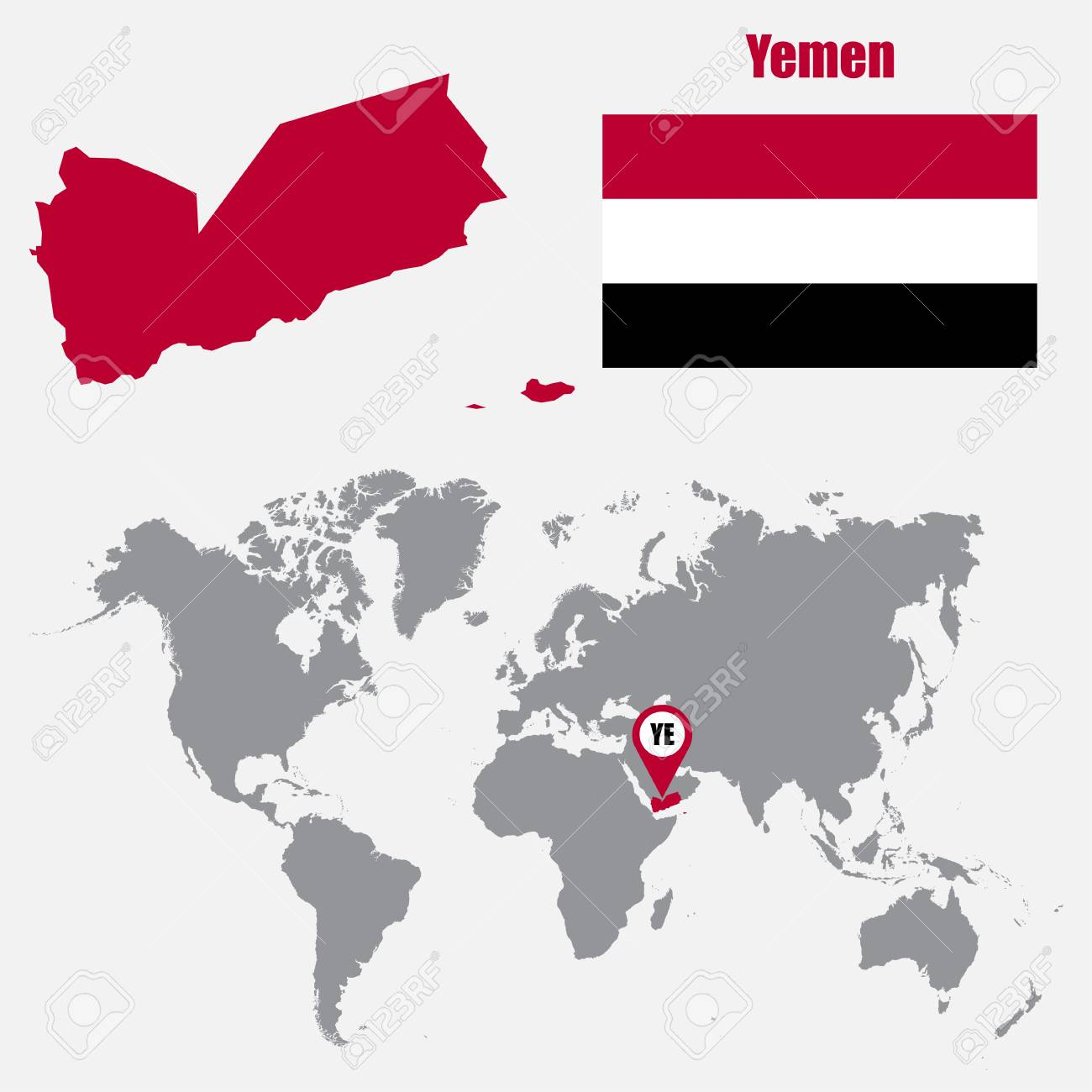 Yemen Map On A World Map With Flag And Map Pointer Vector