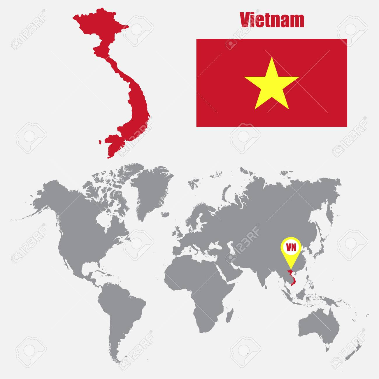 Vietnam map on a world map with flag and map pointer. Vector..