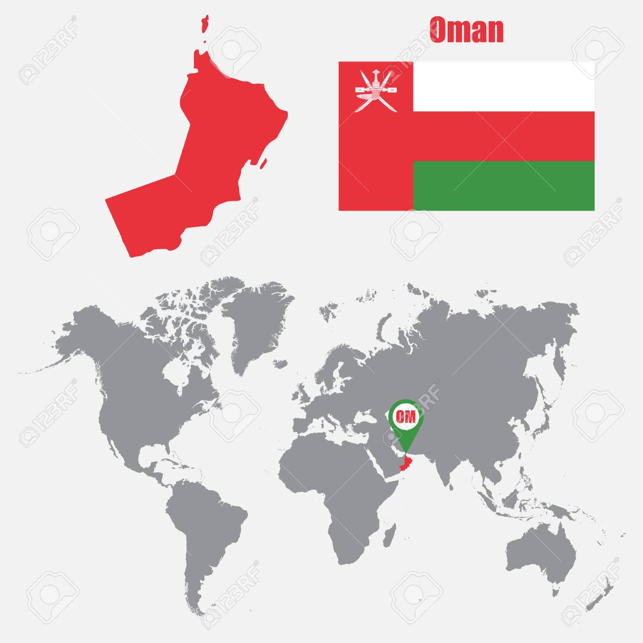 Oman map on a world map with flag and map pointer vector oman map on a world map with flag and map pointer vector illustration stock vector gumiabroncs Gallery