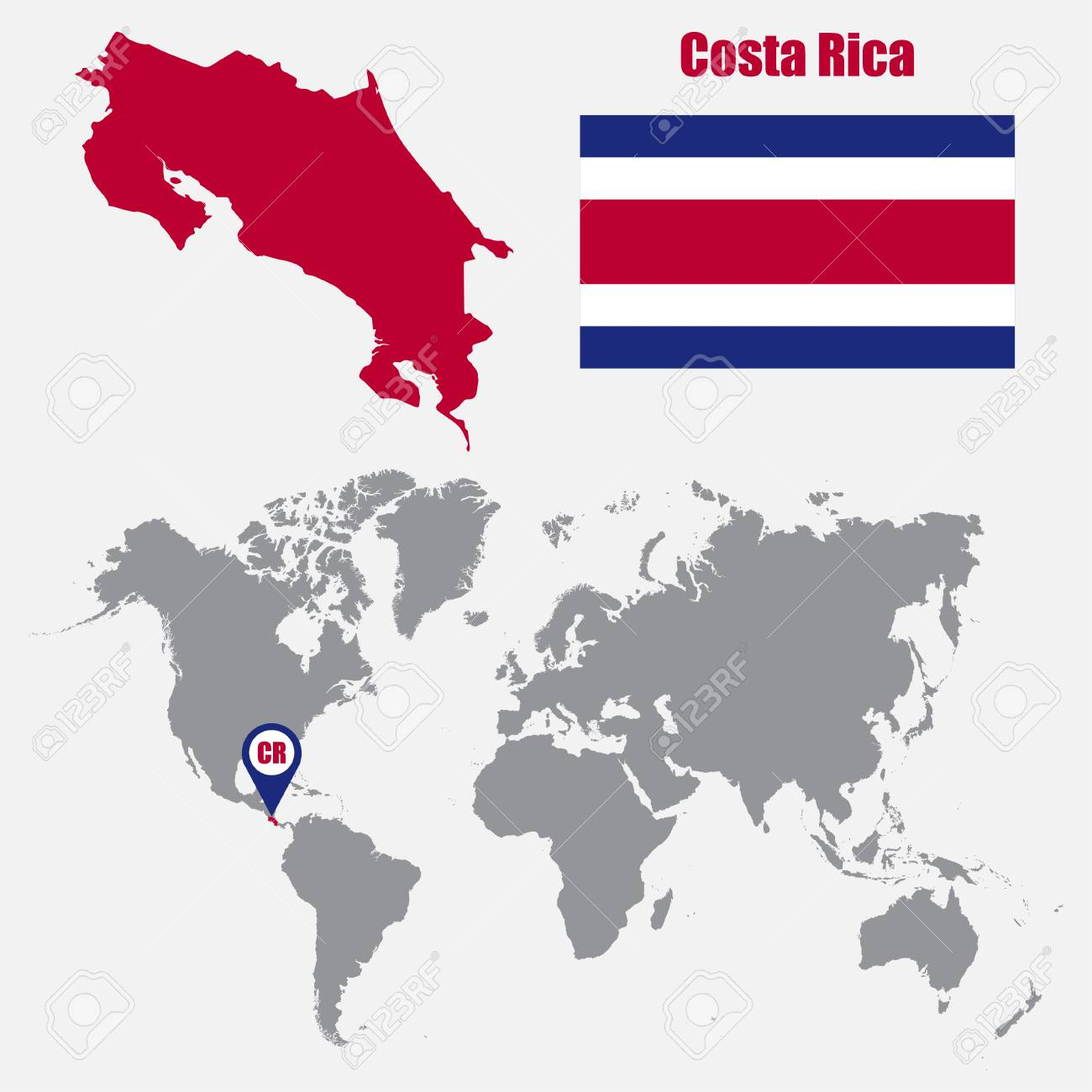 Costa rica map on a world map with flag and map pointer vector costa rica map on a world map with flag and map pointer vector illustration stock gumiabroncs Image collections