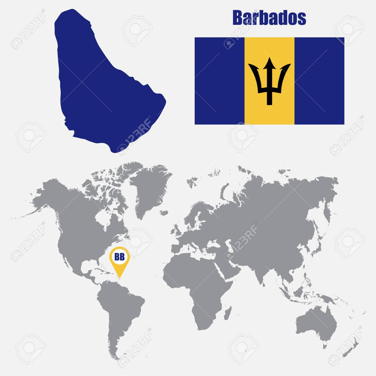 Picture of: Barbados Map On A World Map With Flag And Map Pointer Vector Royalty Free Cliparts Vectors And Stock Illustration Image 62045562