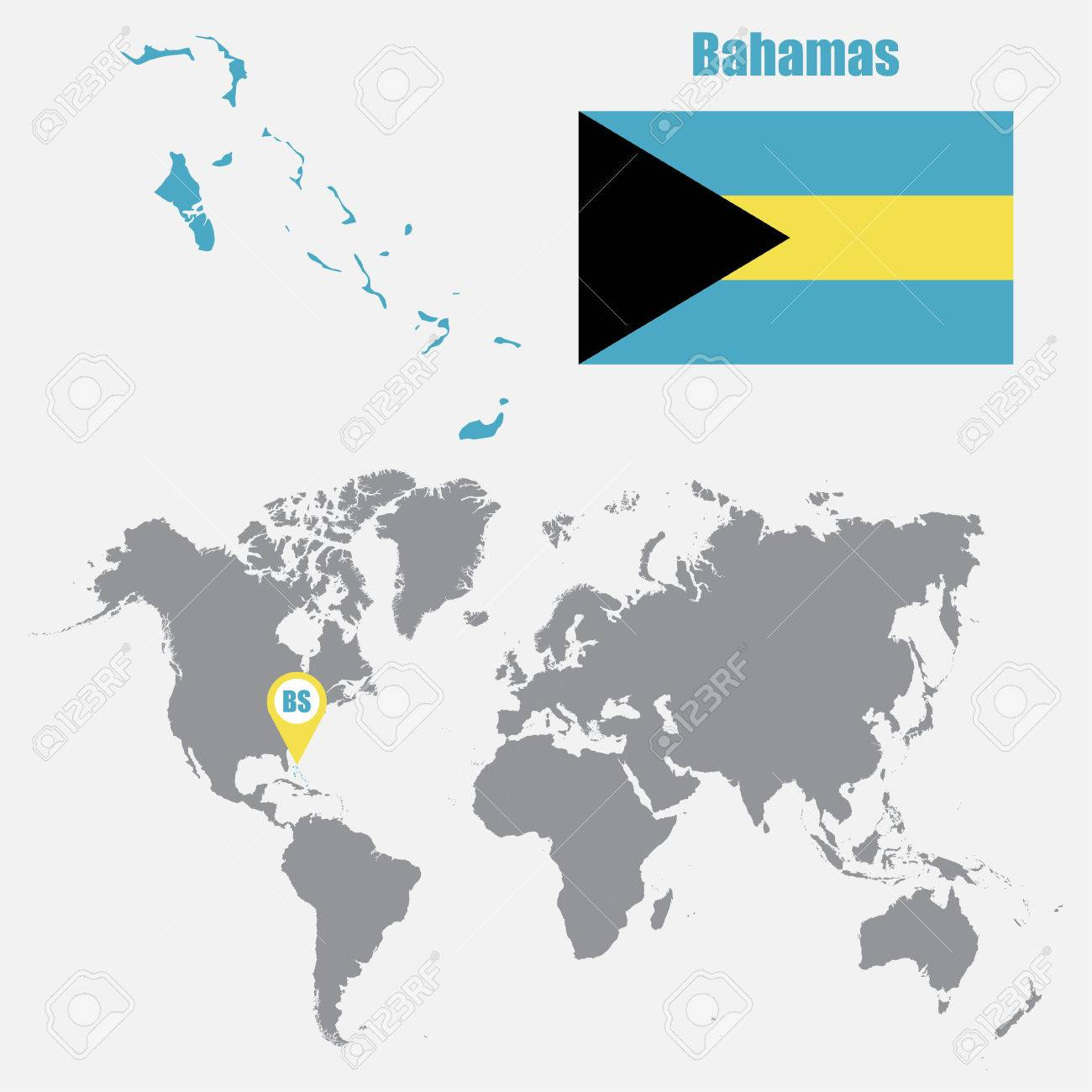 Picture of: Bahamas Map On A World Map With Flag And Map Pointer Vector Royalty Free Cliparts Vectors And Stock Illustration Image 62045563