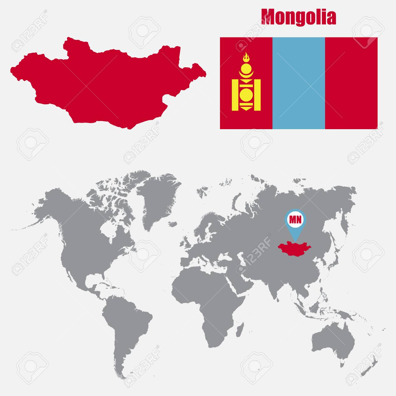 Mongolia map on a world map with flag and map pointer vector mongolia map on a world map with flag and map pointer vector illustration stock vector gumiabroncs Gallery