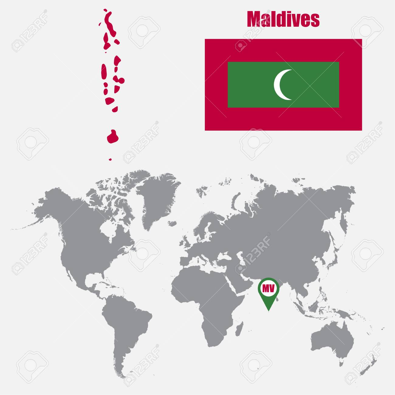 Image of: Maldives Map On A World Map With Flag And Map Pointer Vector Royalty Free Cliparts Vectors And Stock Illustration Image 62045567