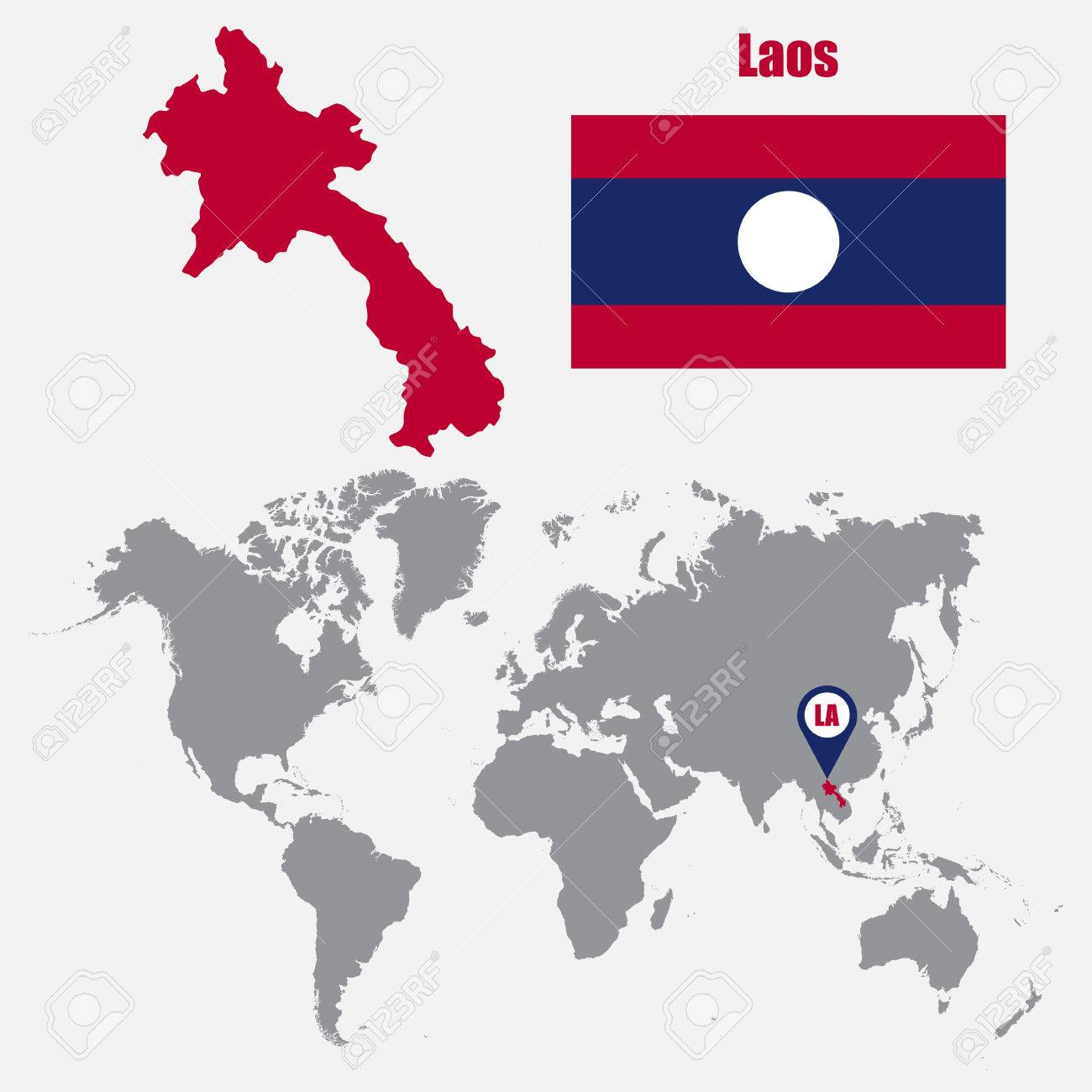 Laos On A World Map.Laos Map On A World Map With Flag And Map Pointer Vector