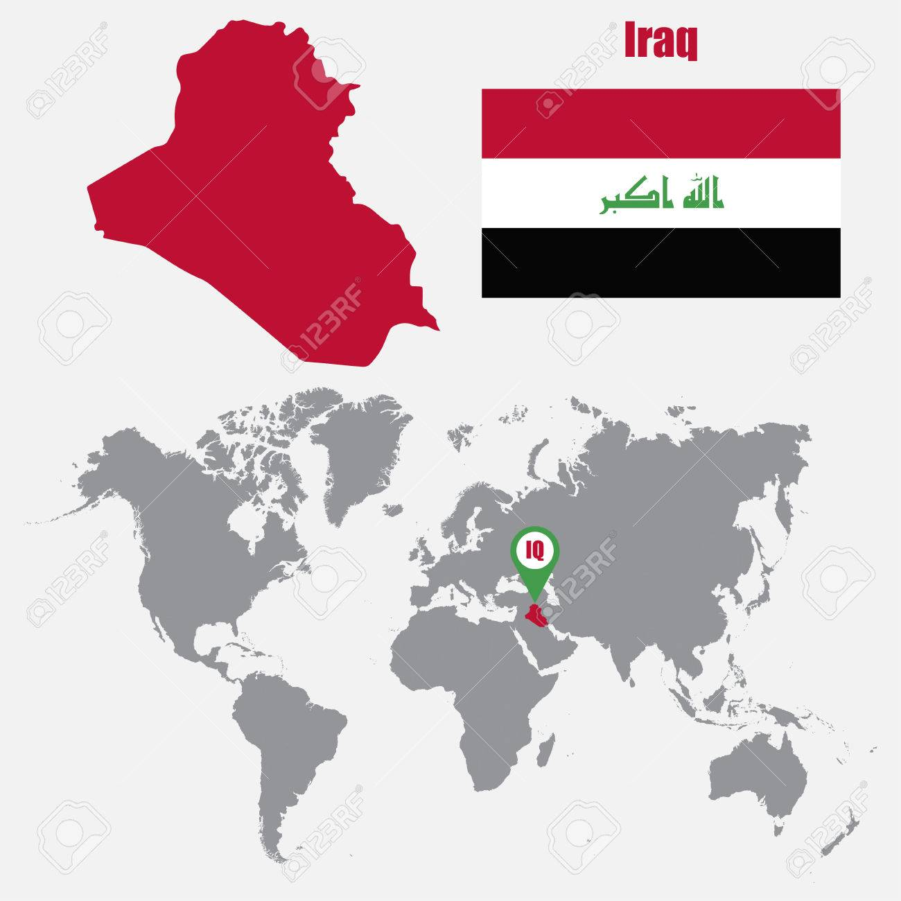 Iraq map on a world map with flag and map pointer vector iraq map on a world map with flag and map pointer vector illustration stock vector gumiabroncs Image collections