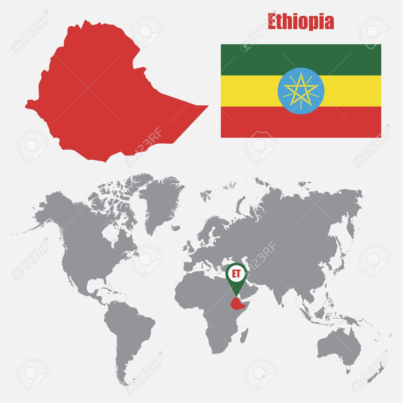 Ethiopia map on a world map with flag and map pointer vector ethiopia map on a world map with flag and map pointer vector illustration stock vector gumiabroncs Choice Image