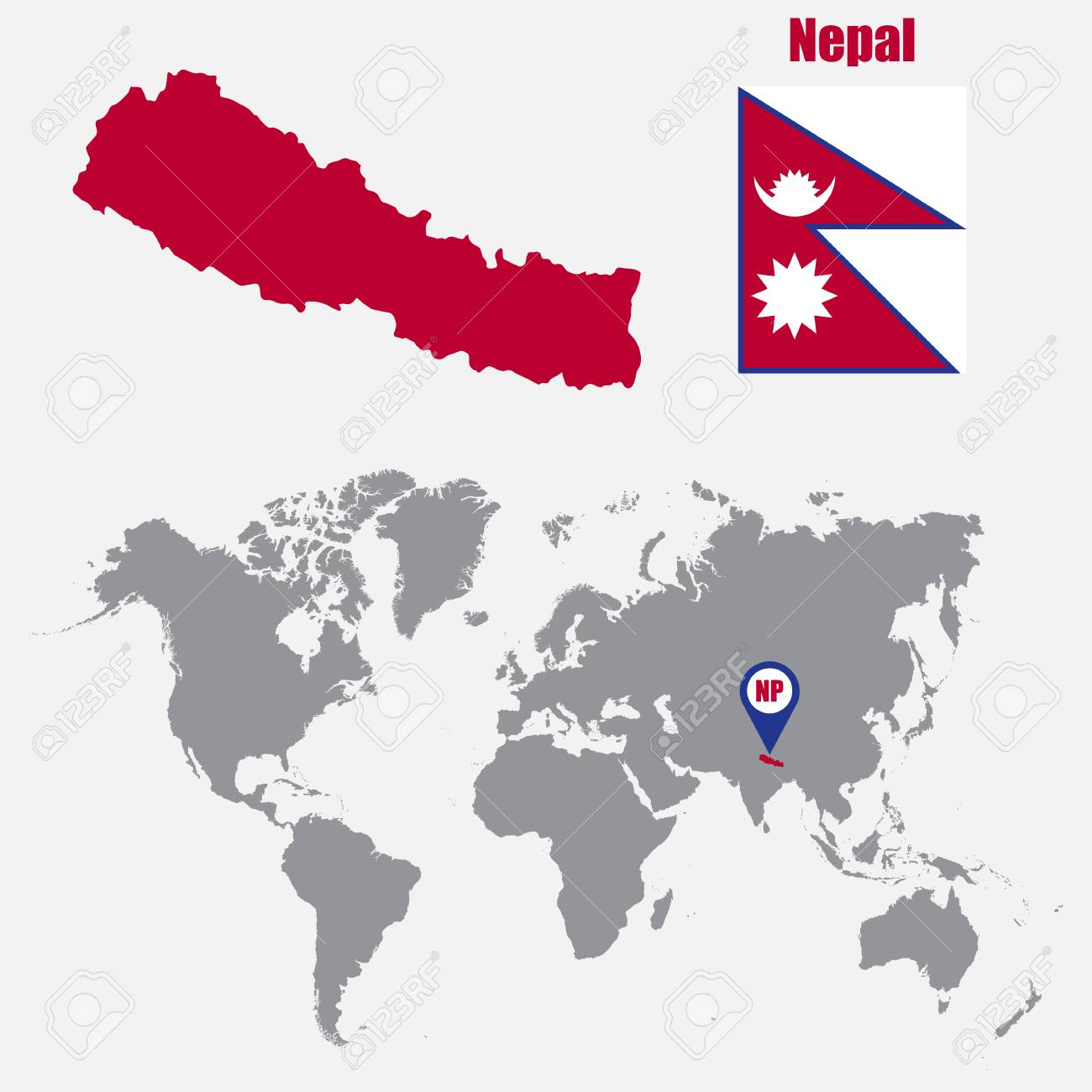 népal carte du monde Nepal Map On A World Map With Flag And Map Pointer. Vector
