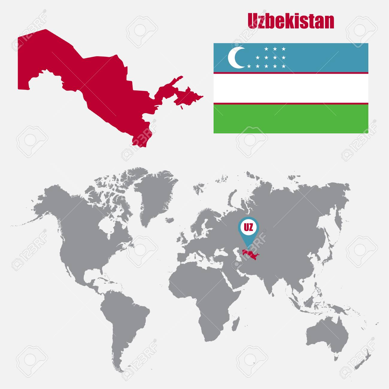 Uzbekistan map on a world map with flag and map pointer. Vector..