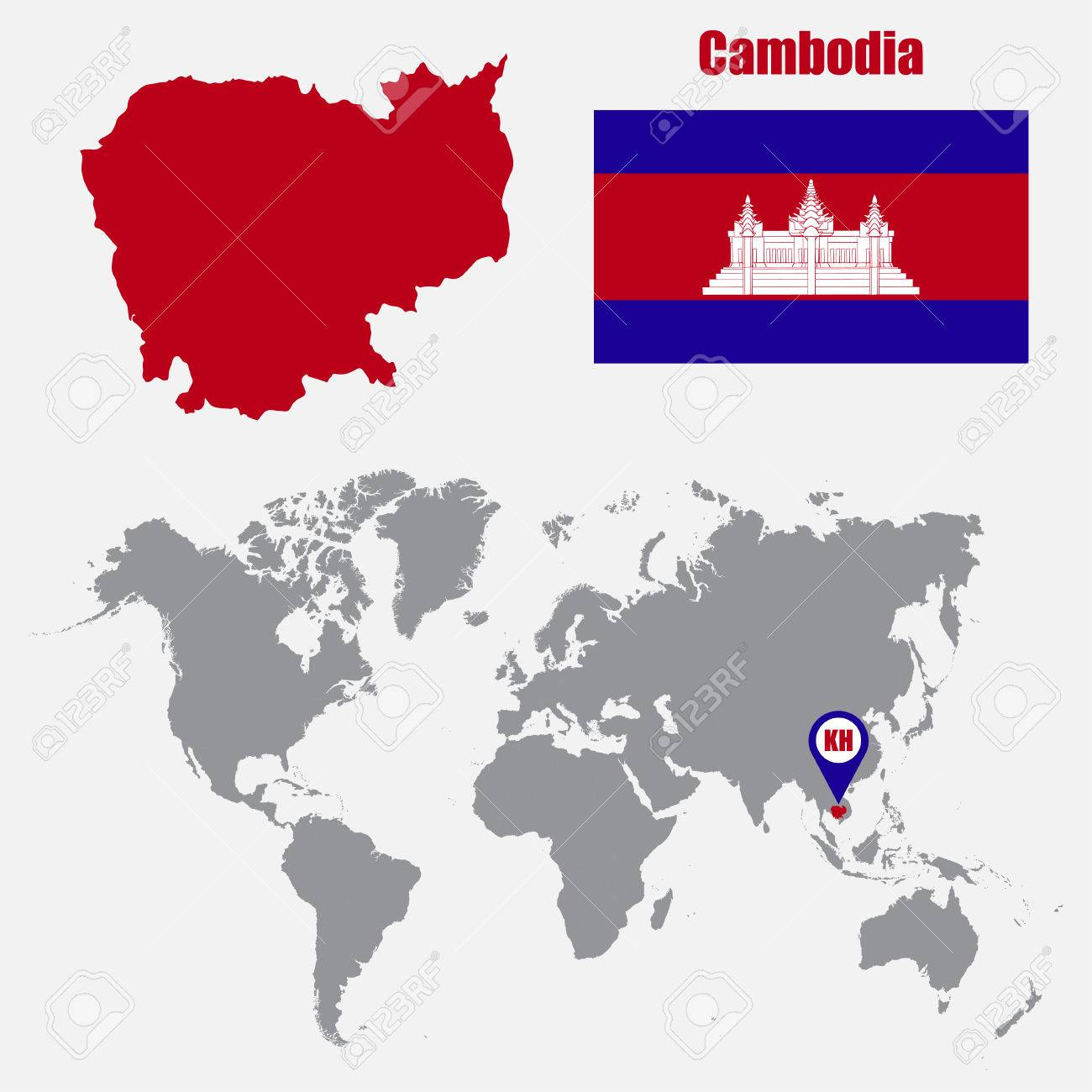 Cambodia Map On A World Map With Flag And Map Pointer Vector