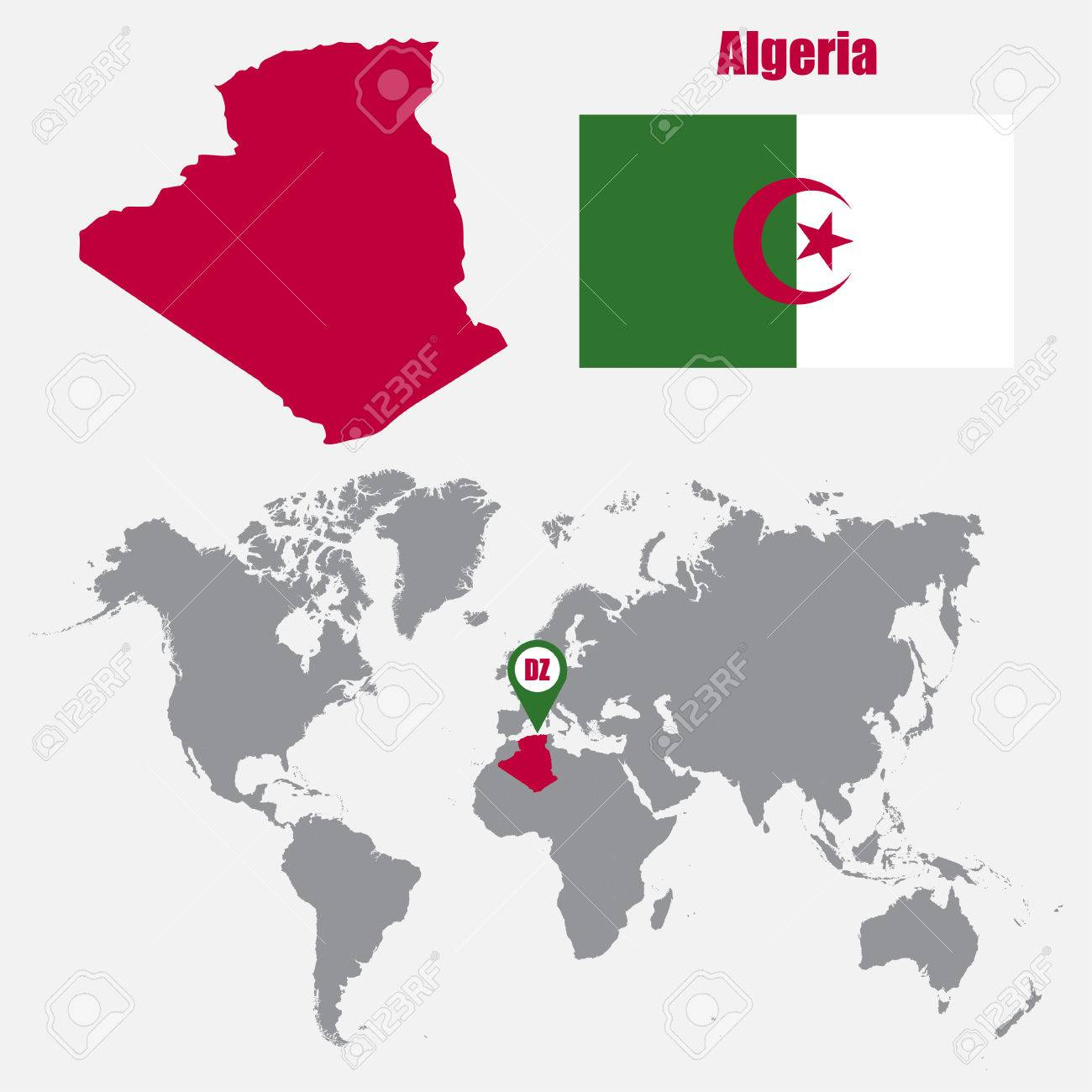 Algeria Map On A World Map With Flag And Map Pointer. Vector ...