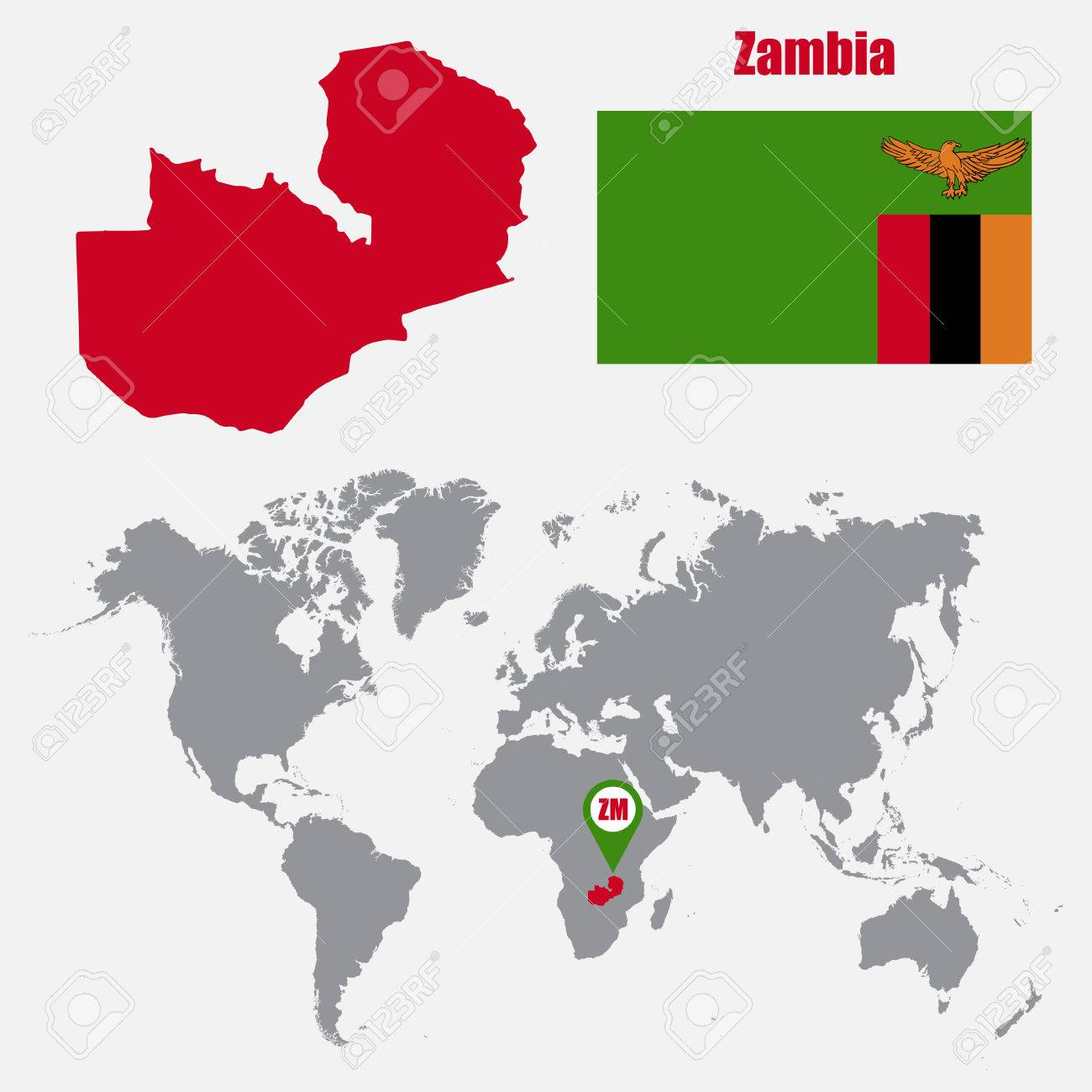Zambia Map On A World Map With Flag And Map Pointer. Vector