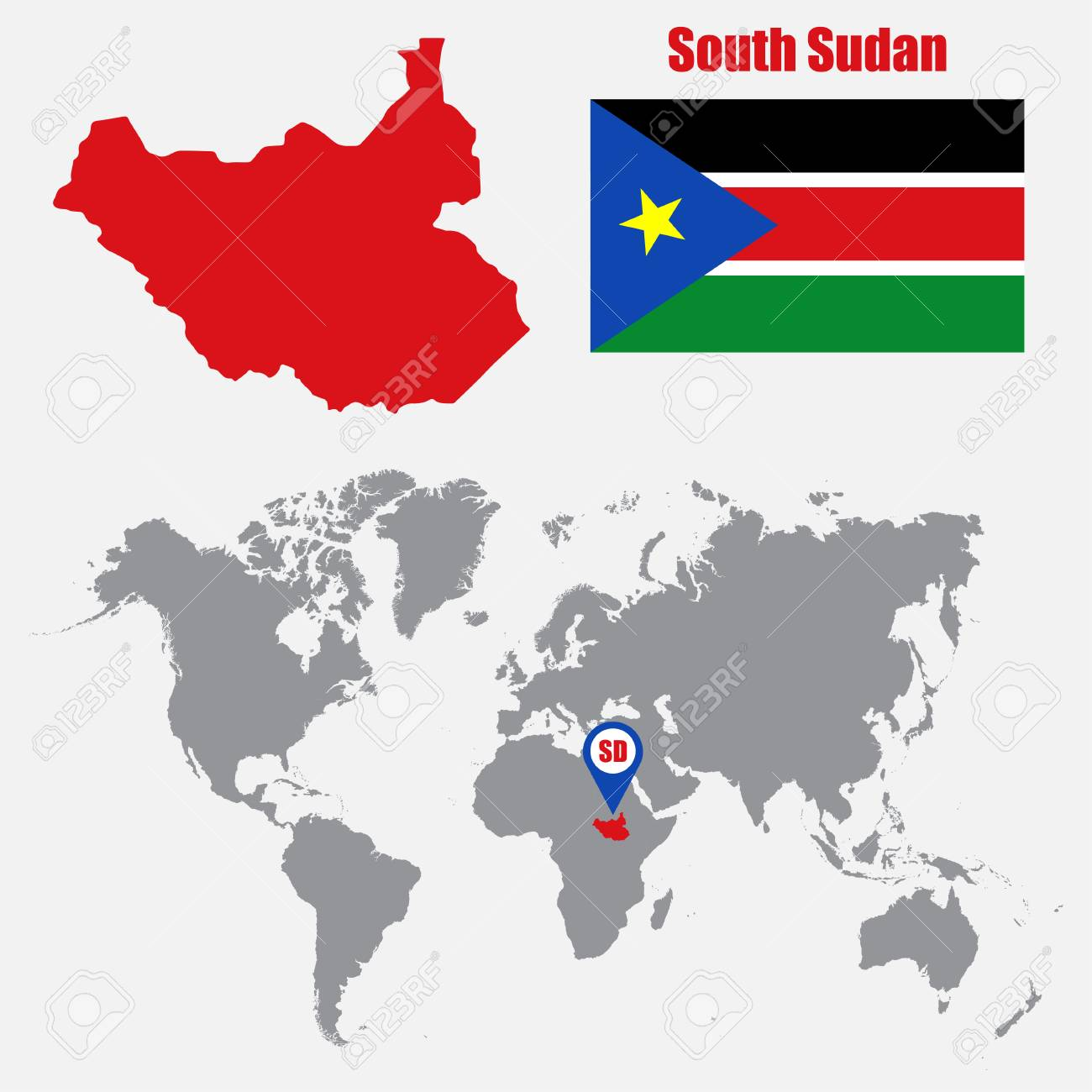 South Sudan Map On A World Map With Flag And Map Pointer Vector