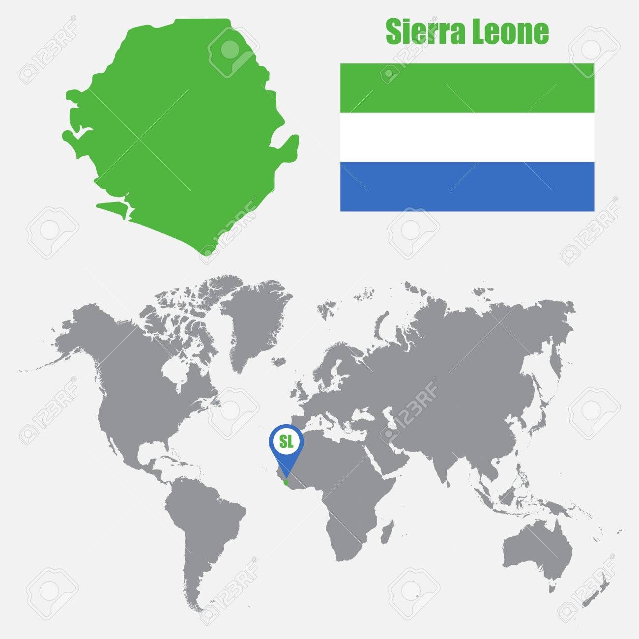 Sierra Leone Map On A World Map With Flag And Map Pointer Vector
