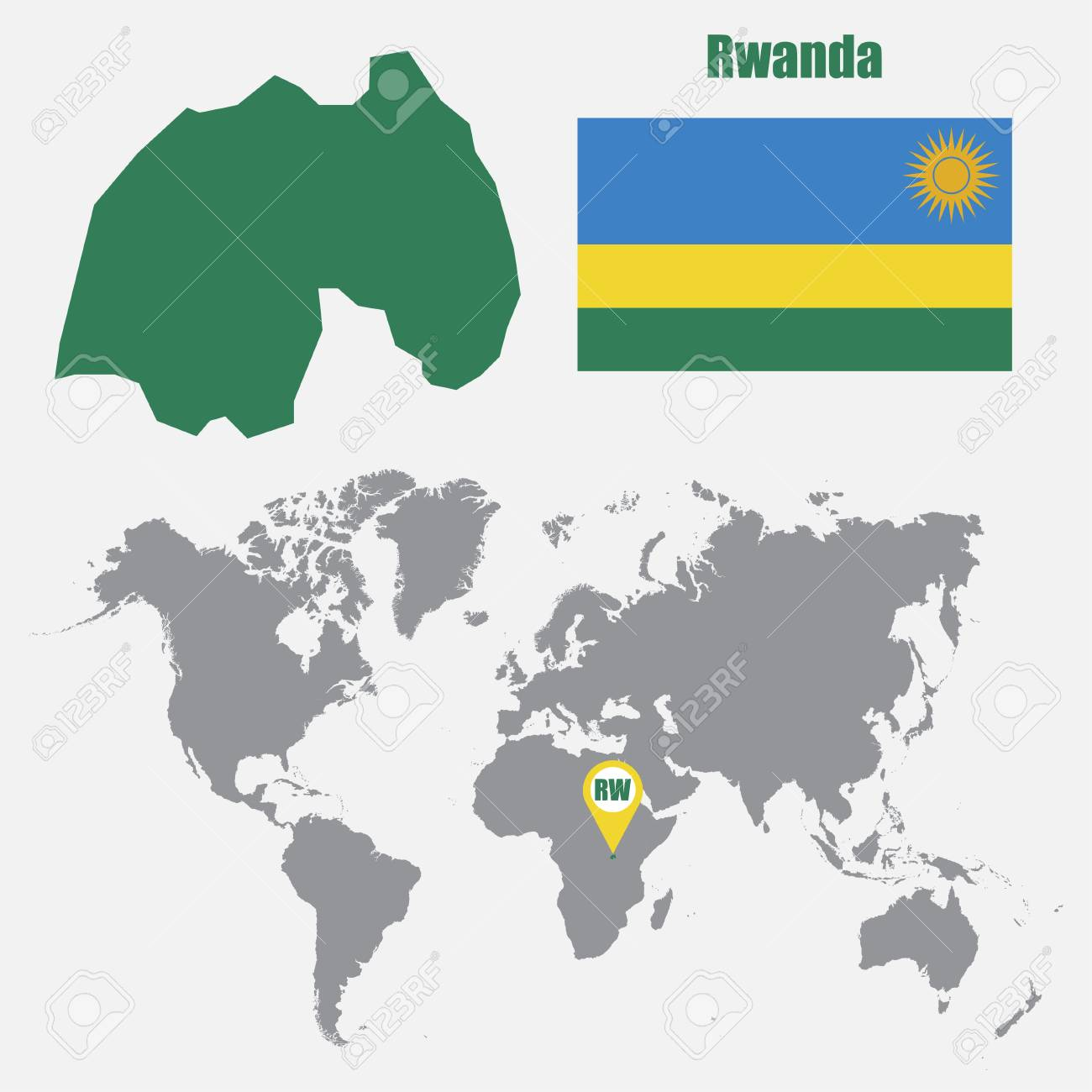 Image of: Rwanda Map On A World Map With Flag And Map Pointer Vector Illustration Royalty Free Cliparts Vectors And Stock Illustration Image 62048643