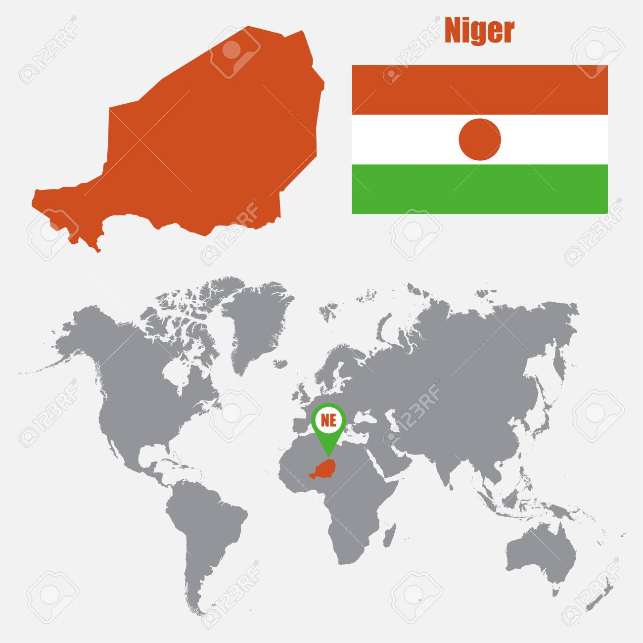 Picture of: Niger Map On A World Map With Flag And Map Pointer Vector Illustration Royalty Free Cliparts Vectors And Stock Illustration Image 62048709