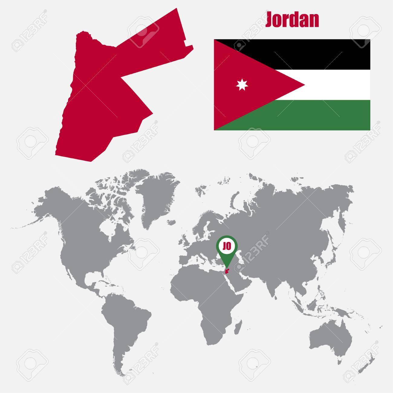 Jordan Map On A World Map With Flag And Map Pointer. Vector ...
