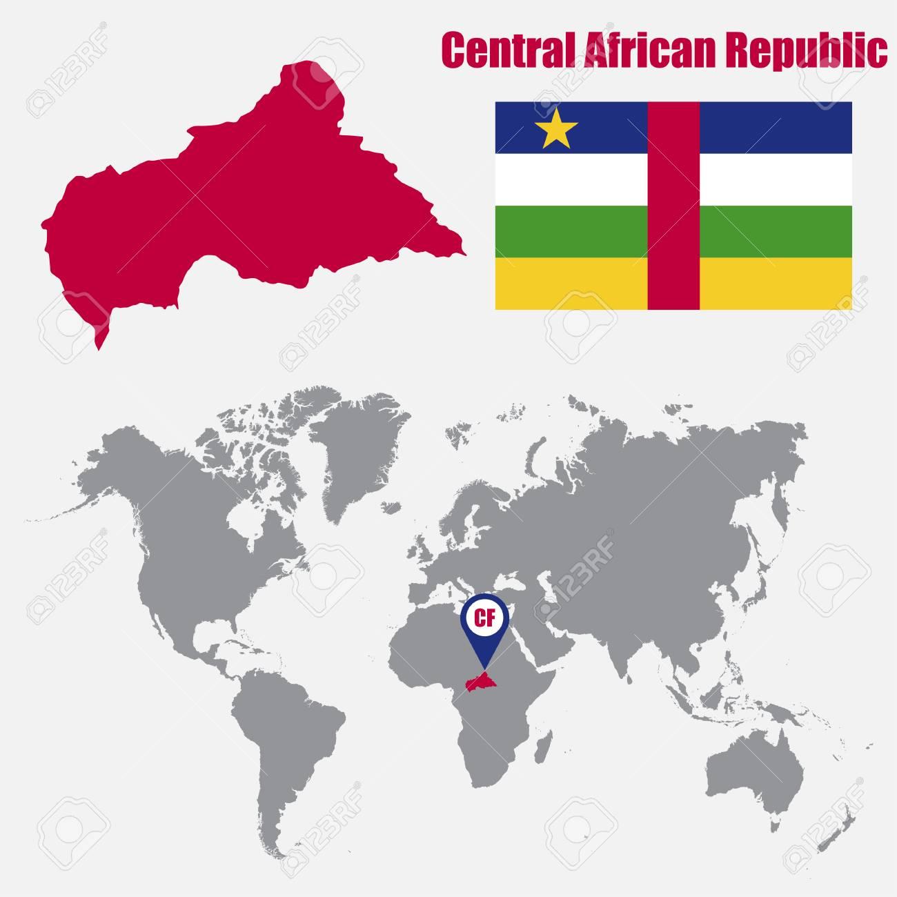 Mapa De La República Centroafricana En Un Mapa Del Mundo Con La