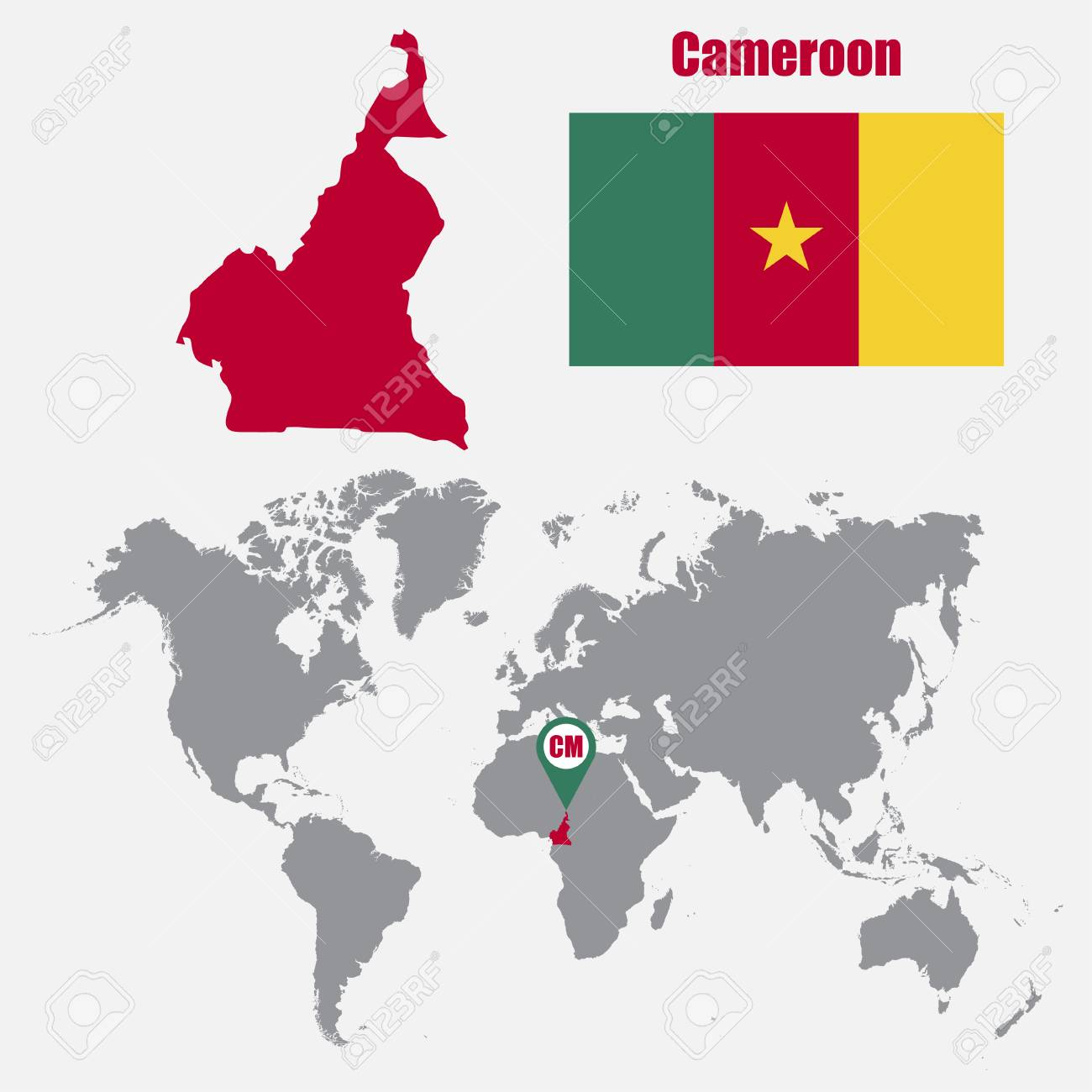 Cameroon map on a world map with flag and map pointer. Vector..