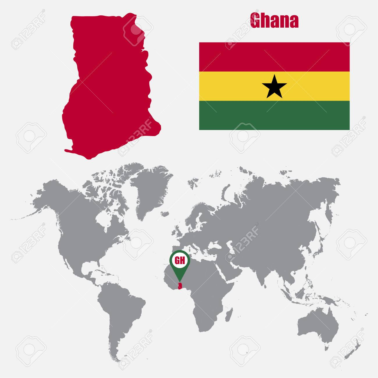 Ghana On A World Map.Ghana Map On A World Map With Flag And Map Pointer Vector
