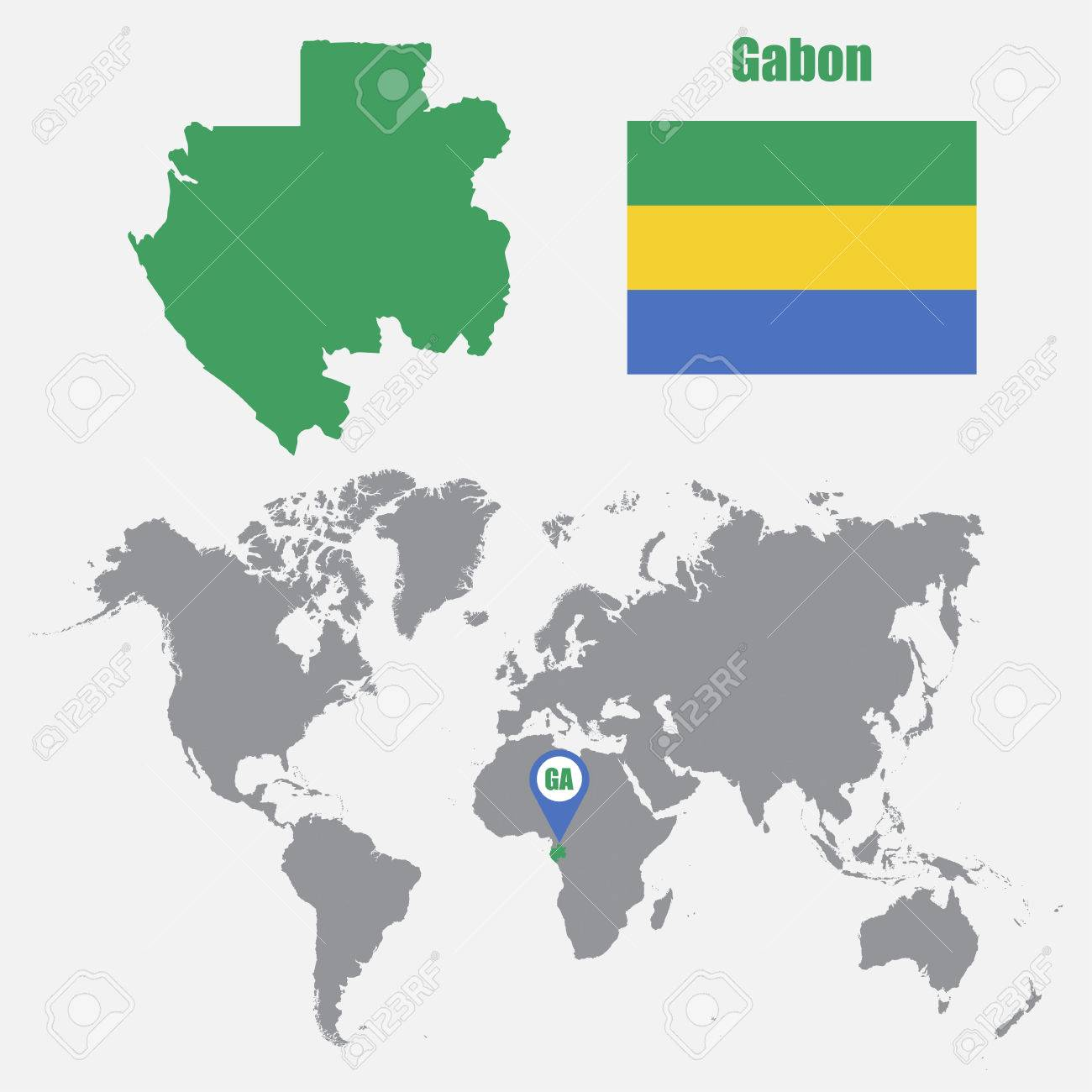 Gabon Map On A World Map With Flag And Map Pointer Vector - Where is gabon on the world map
