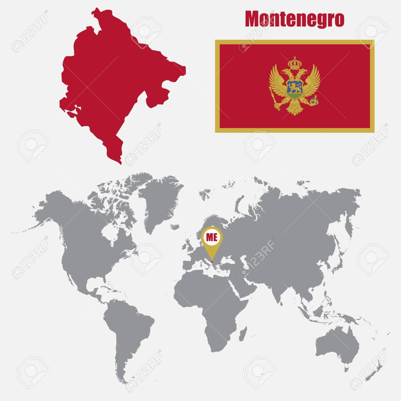 Montenegro Map On A World Map With Flag And Map Pointer Vector