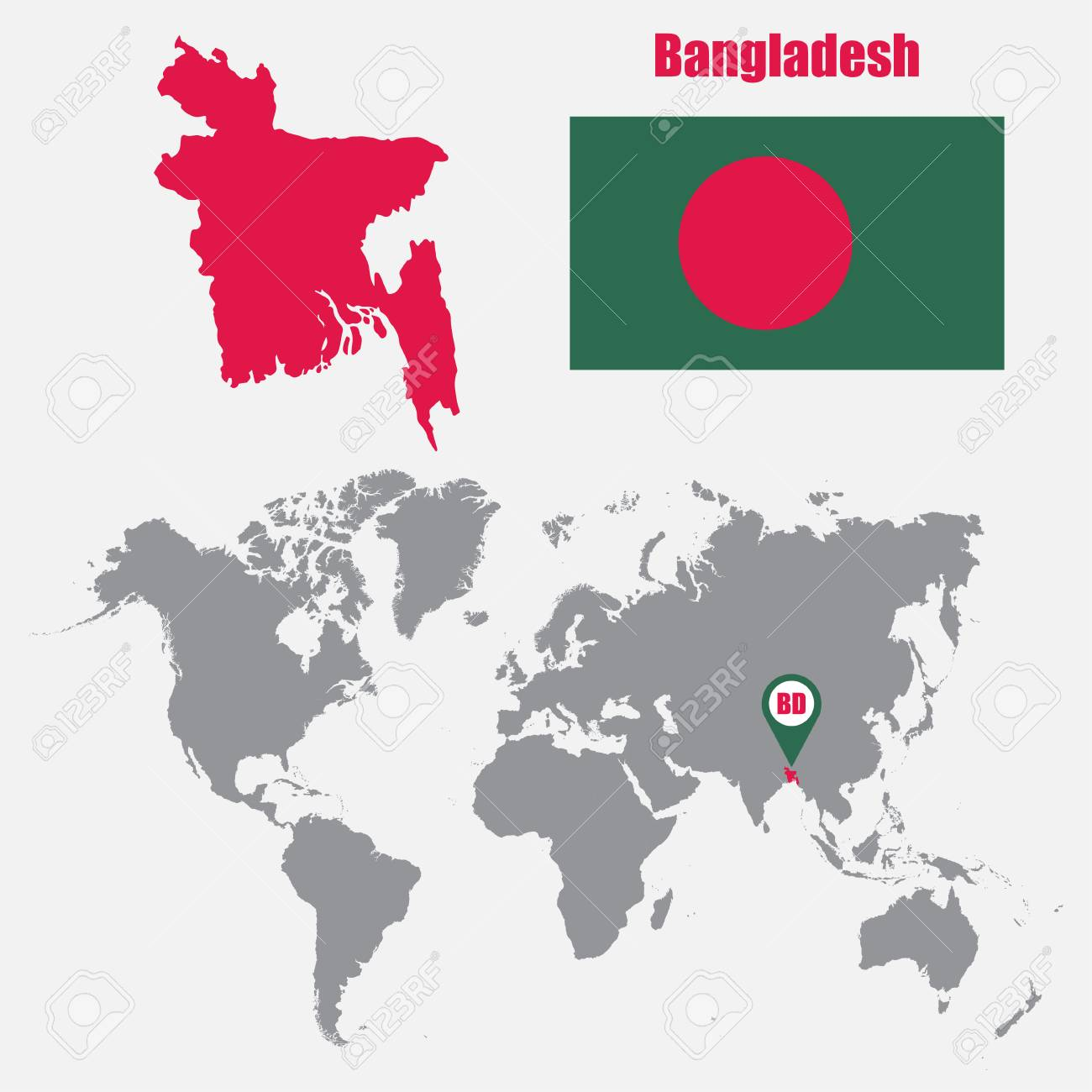 Bangladesh map on a world map with flag and map pointer. Vector..