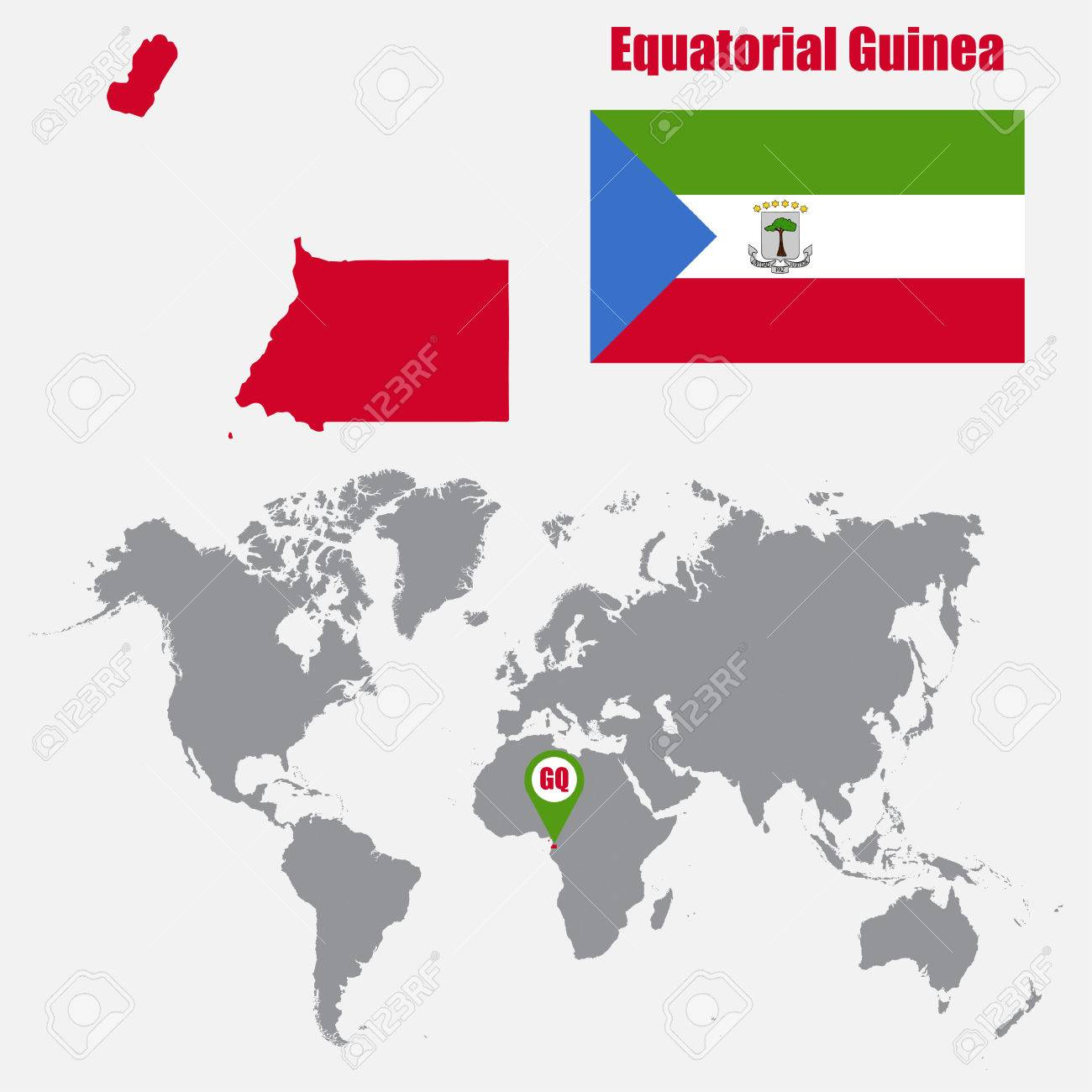 Equatorial guinea map on a world map with flag and map pointer equatorial guinea map on a world map with flag and map pointer vector illustration stock gumiabroncs Images