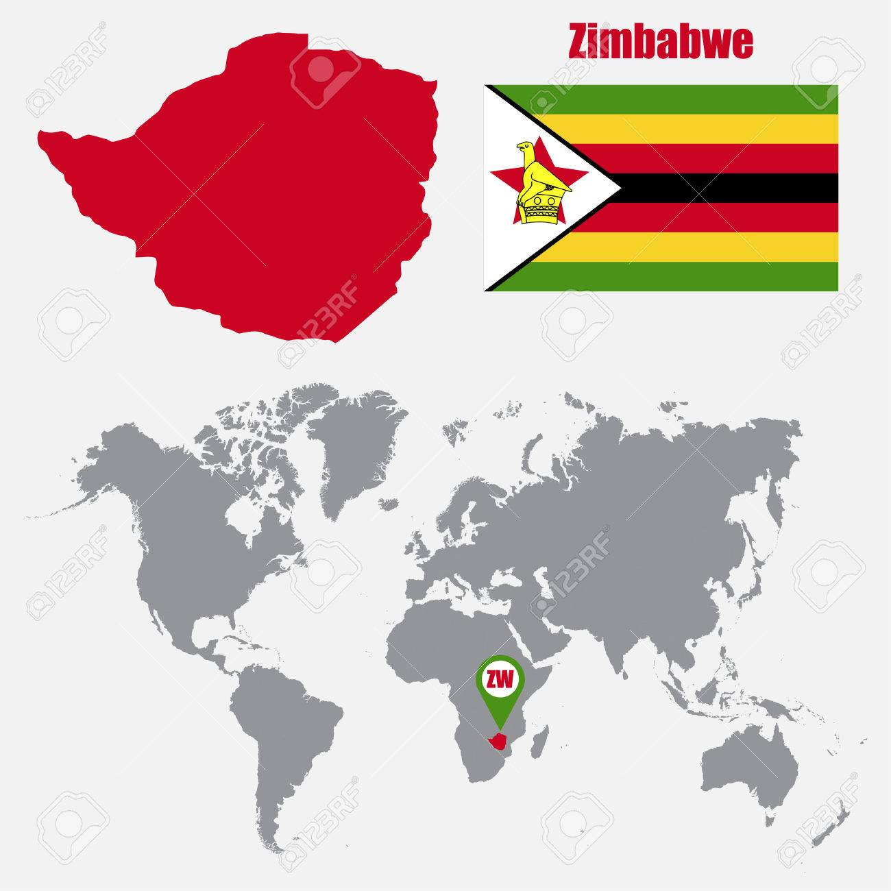 Zimbabwe map on a world map with flag and map pointer. Vector..