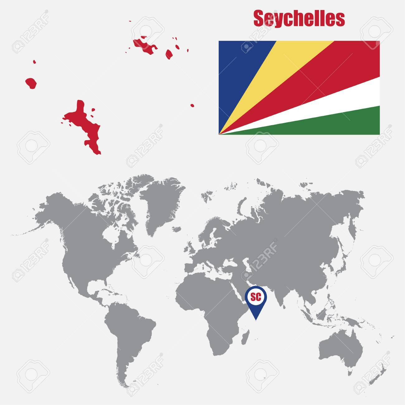 Seychelles Map On A World Map With Flag And Map Pointer Vector