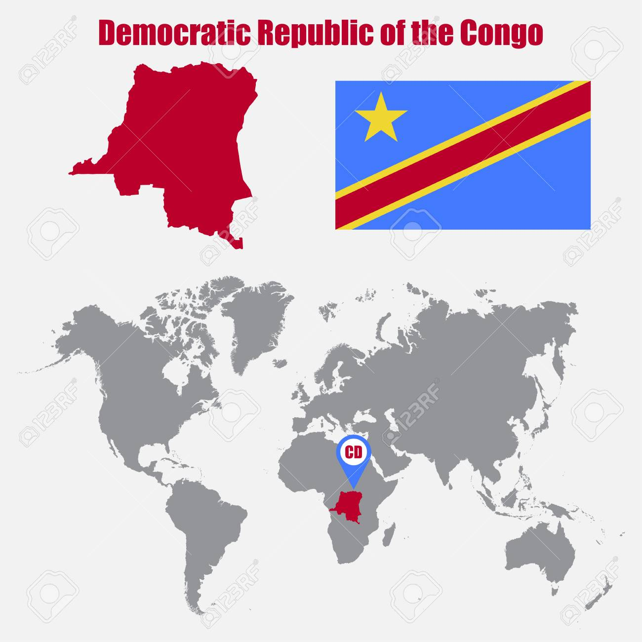 Democratic Republic Of The Congo Map On A World Map With Flag
