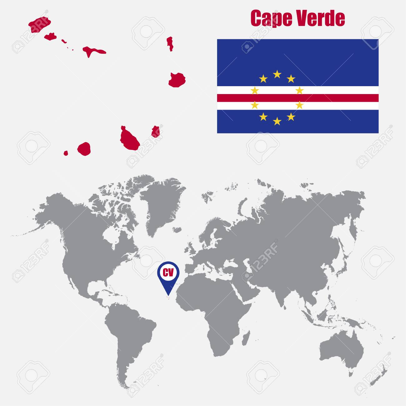 Cape Verde Map On A World Map With Flag And Map Pointer Vector