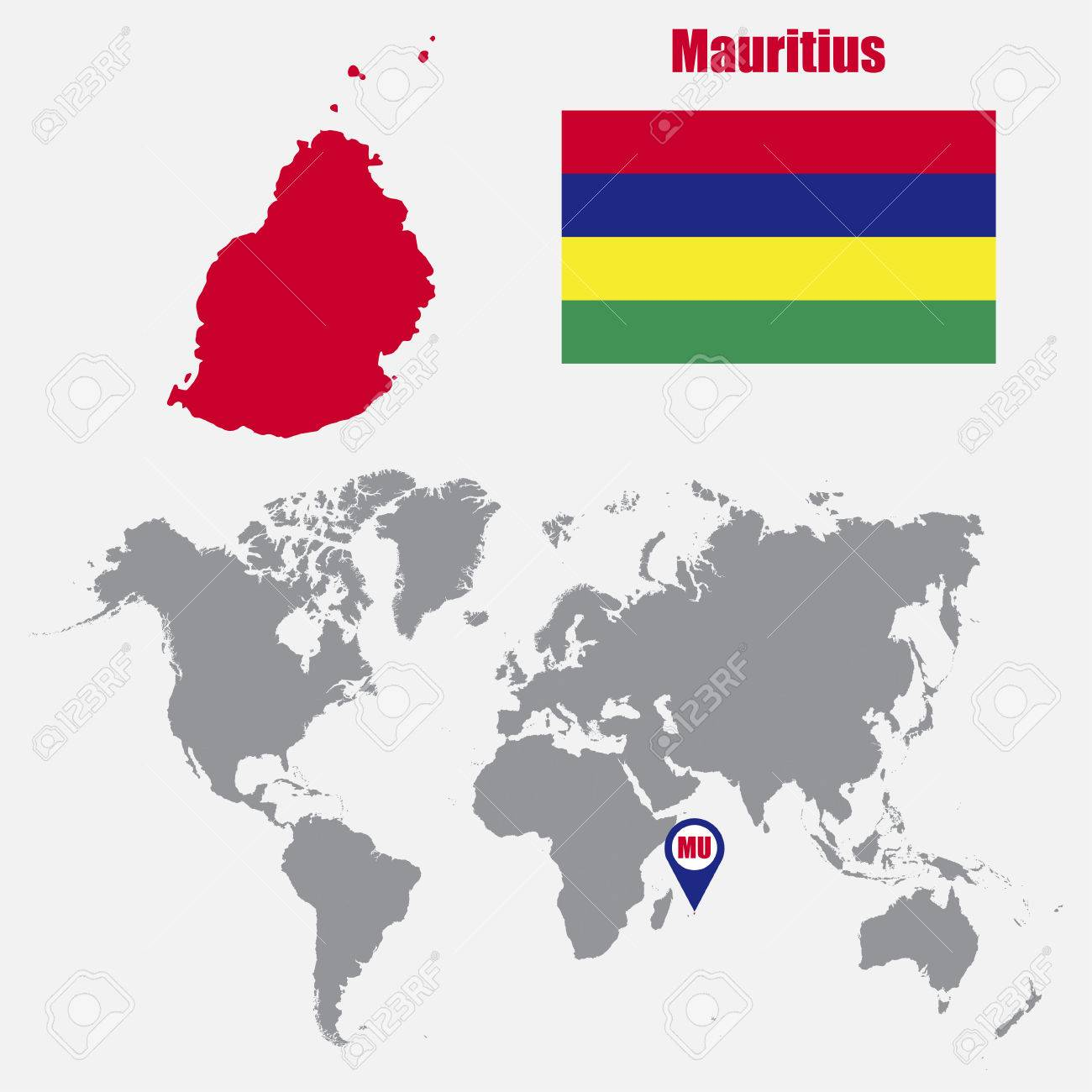 Mauritius map on a world map with flag and map pointer. Vector..