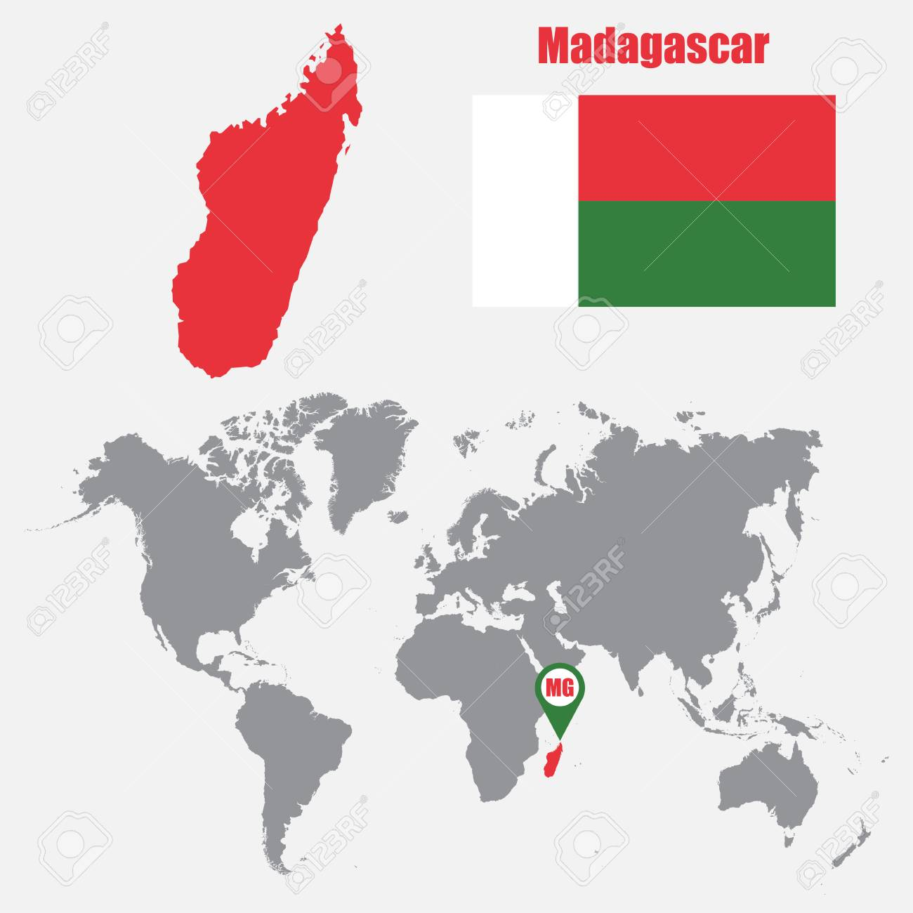 Madagascar map on a world map with flag and map pointer. Vector..