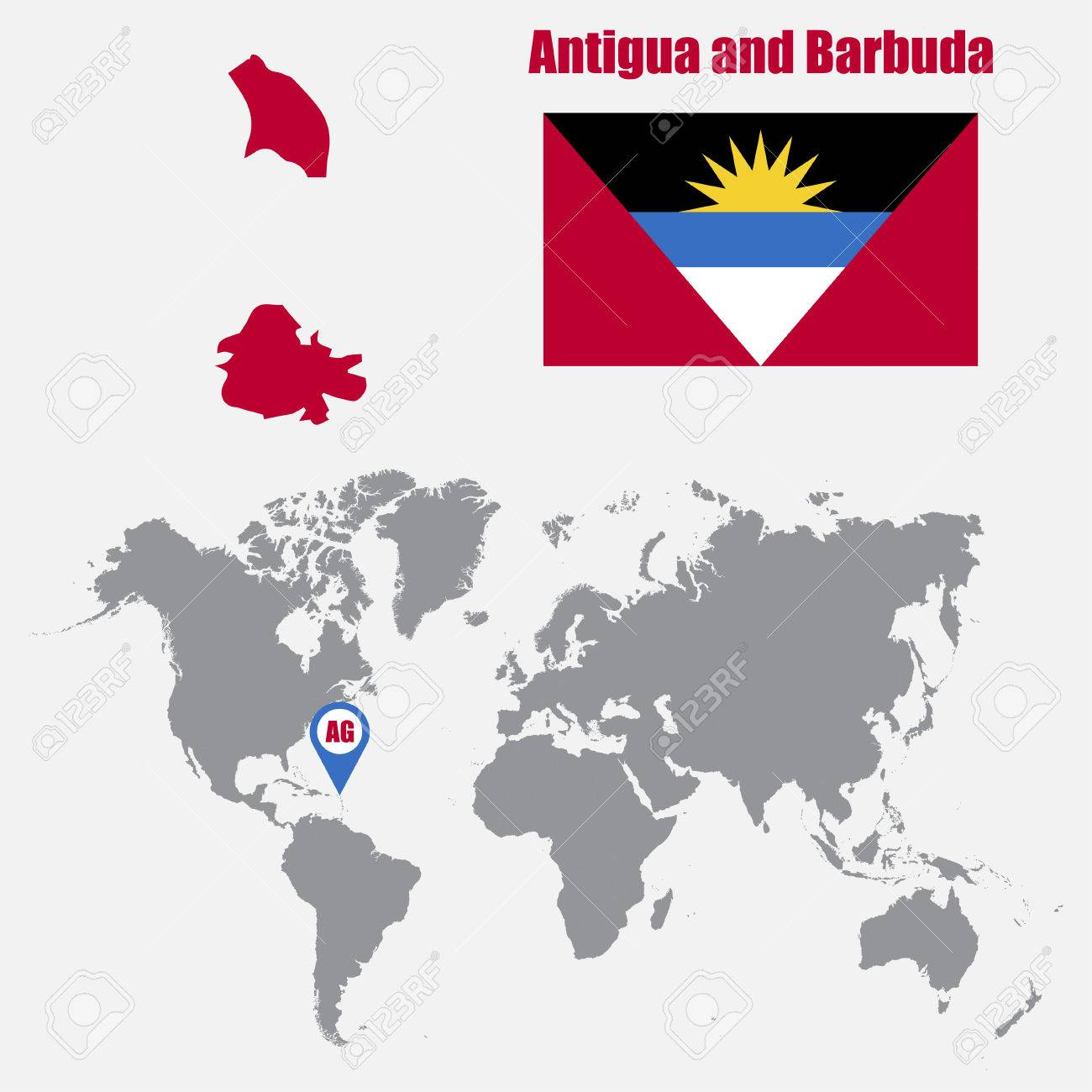 Antigua And Barbuda World Map.Antigua And Barbuda Map On A World Map With Flag And Map Pointer