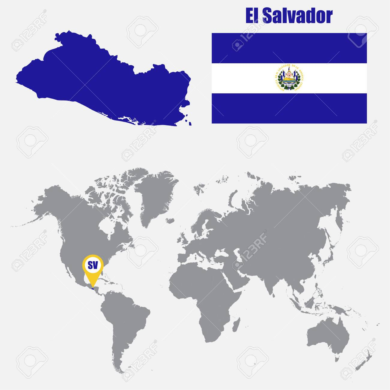 El Salvador Map On A World Map With Flag And Map Pointer. Vector