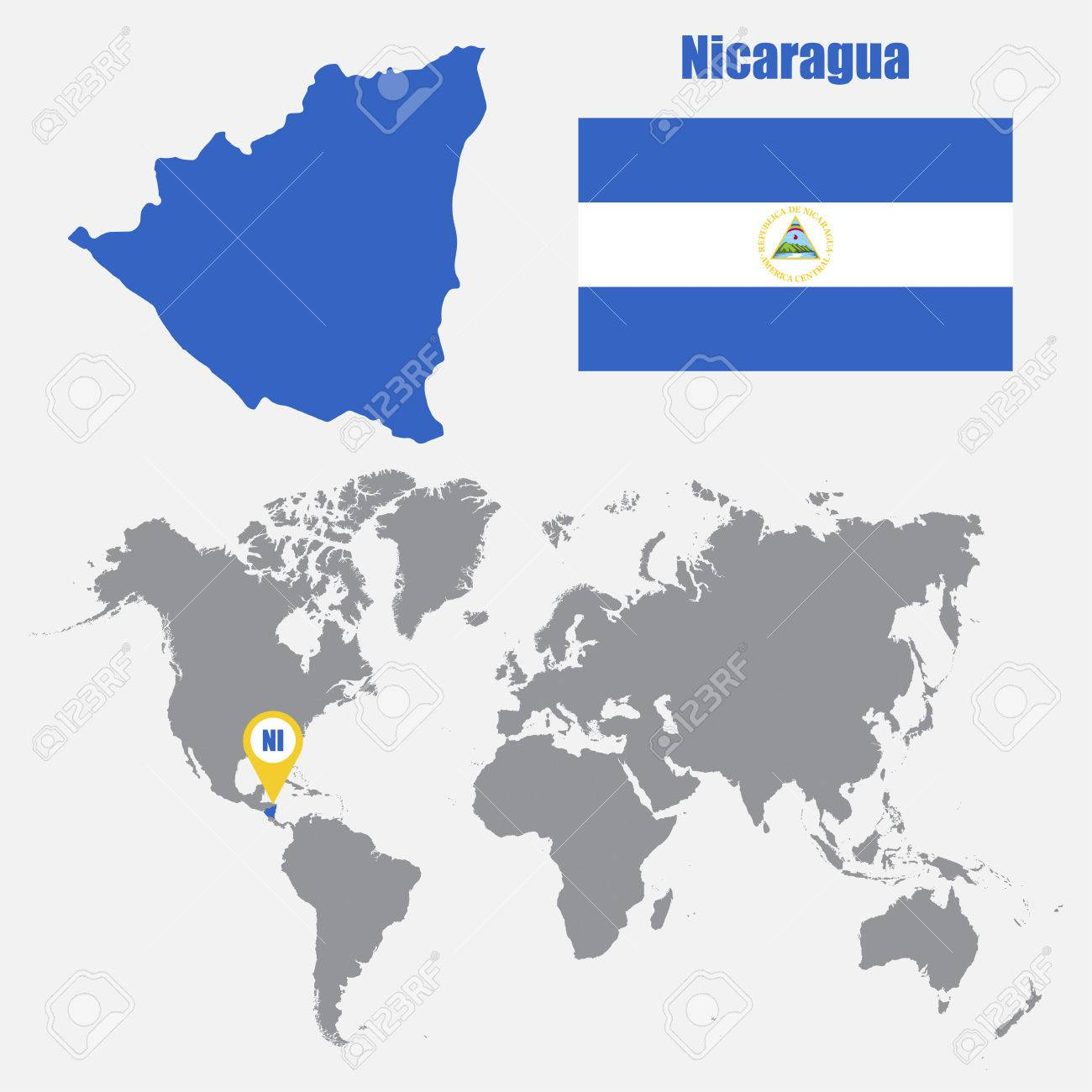 Nicaragua Map On A World Map With Flag And Map Pointer. Vector ...