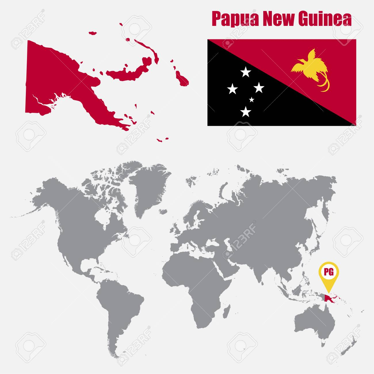 Papua New Guinea Map On A World Map With Flag And Map Pointer