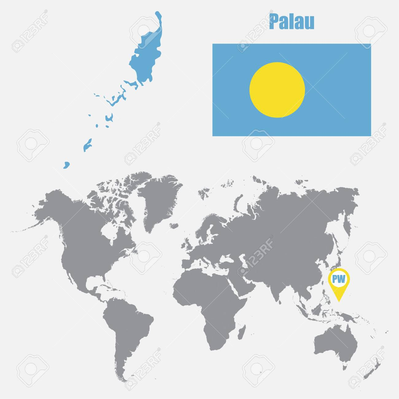 Palau Map On A World Map With Flag And Map Pointer Vector