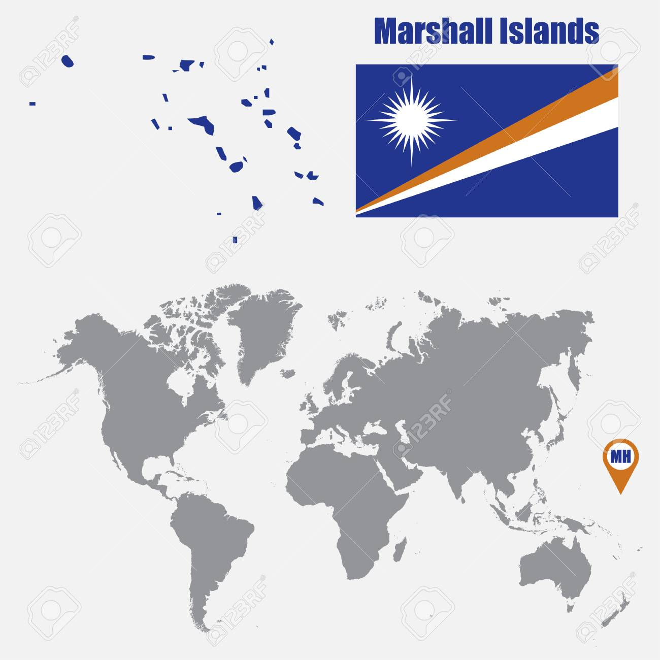 Marshall Islands Map On A World Map With Flag And Map Pointer ...