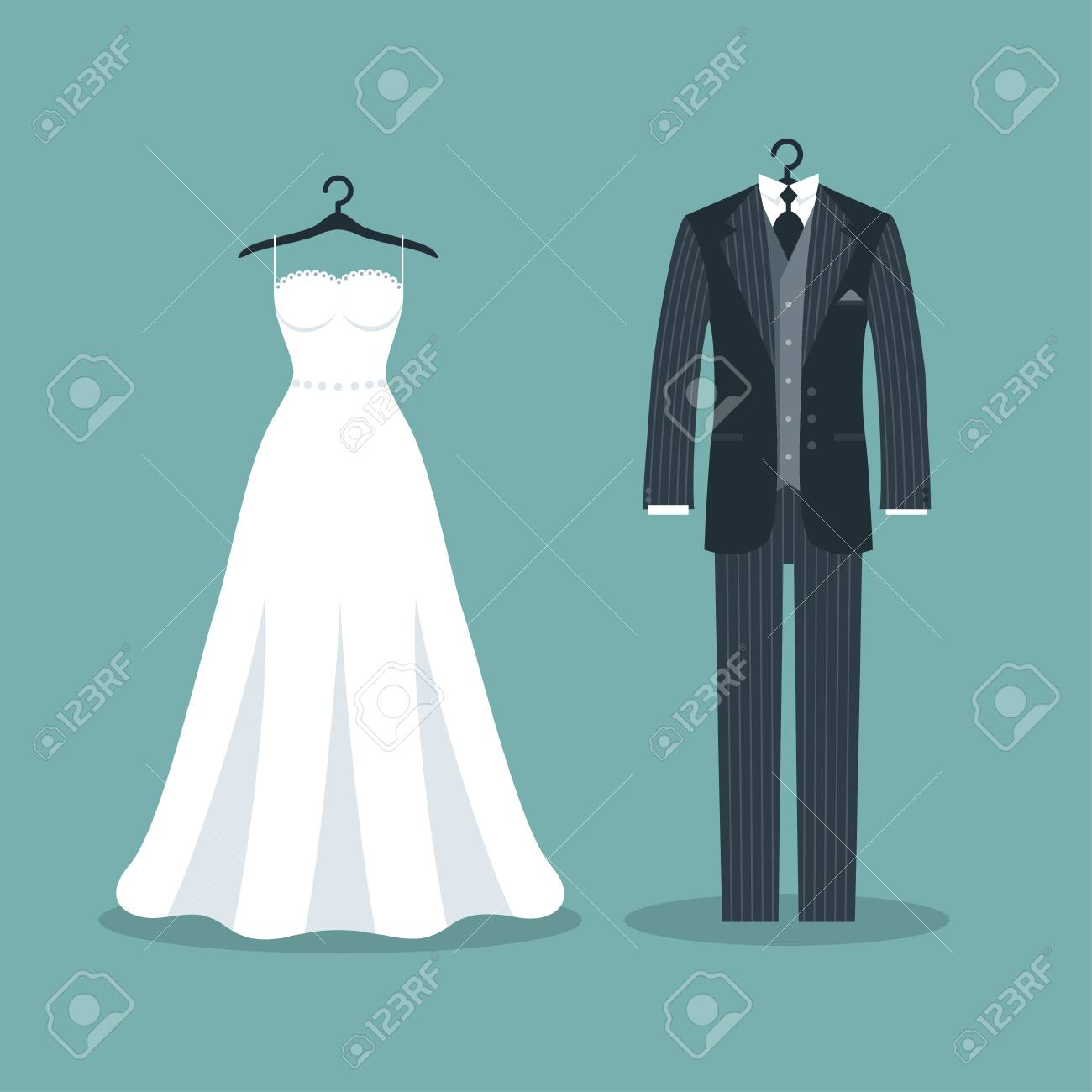 Brautkleider Und Kostüme. Vektor-Illustration Lizenzfrei Nutzbare ...