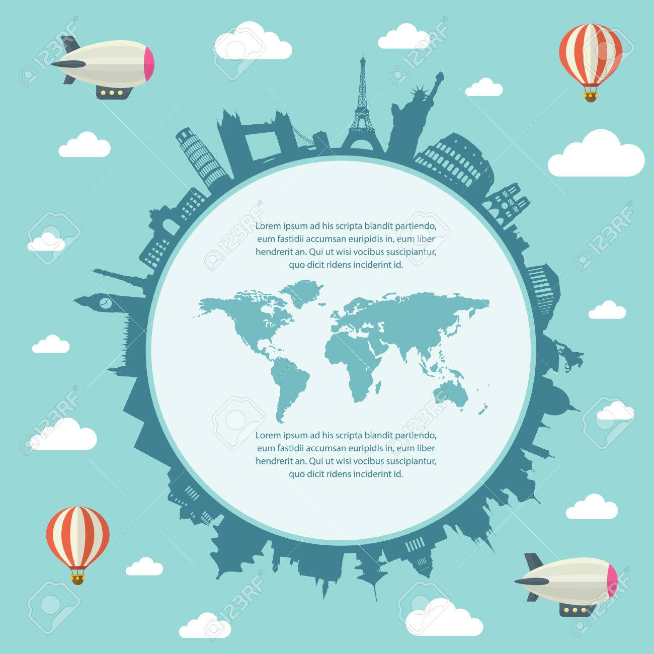 Travel and tourism background and infographic elements world travel and tourism background and infographic elements world map stock vector 62692734 gumiabroncs Image collections