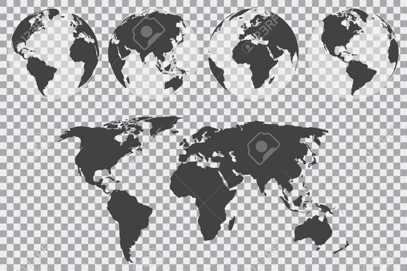 globe set with world map on a transparent background vector illustration stock vector 63720685